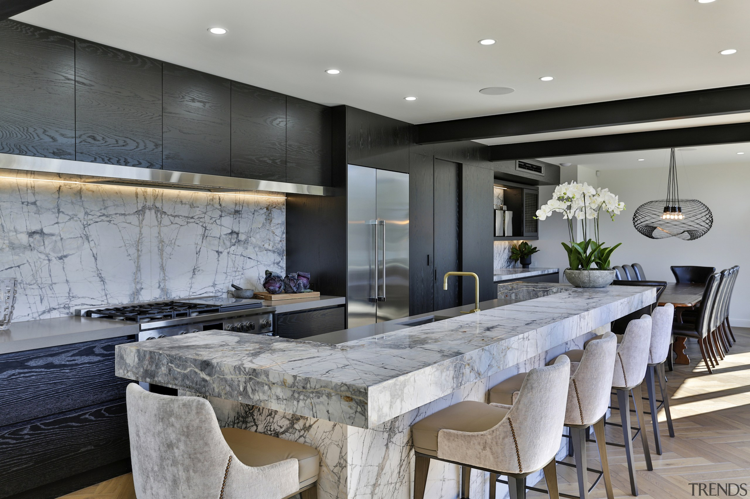 Careful attention to book-matching the strong veining of