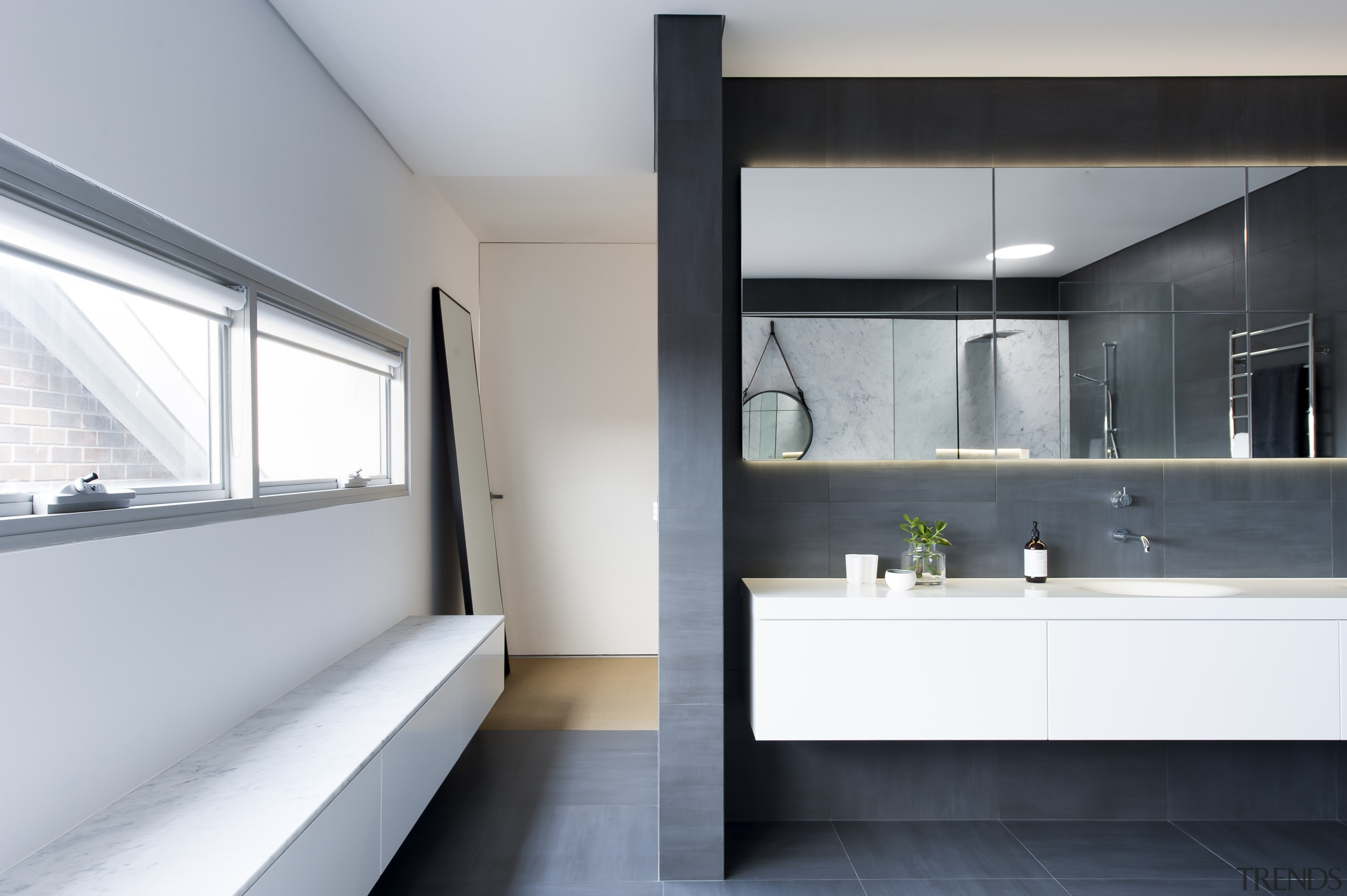 In this bathroom by Minosa, the hanging wall architecture, bathroom, house, interior design, product design, room, sink, gray