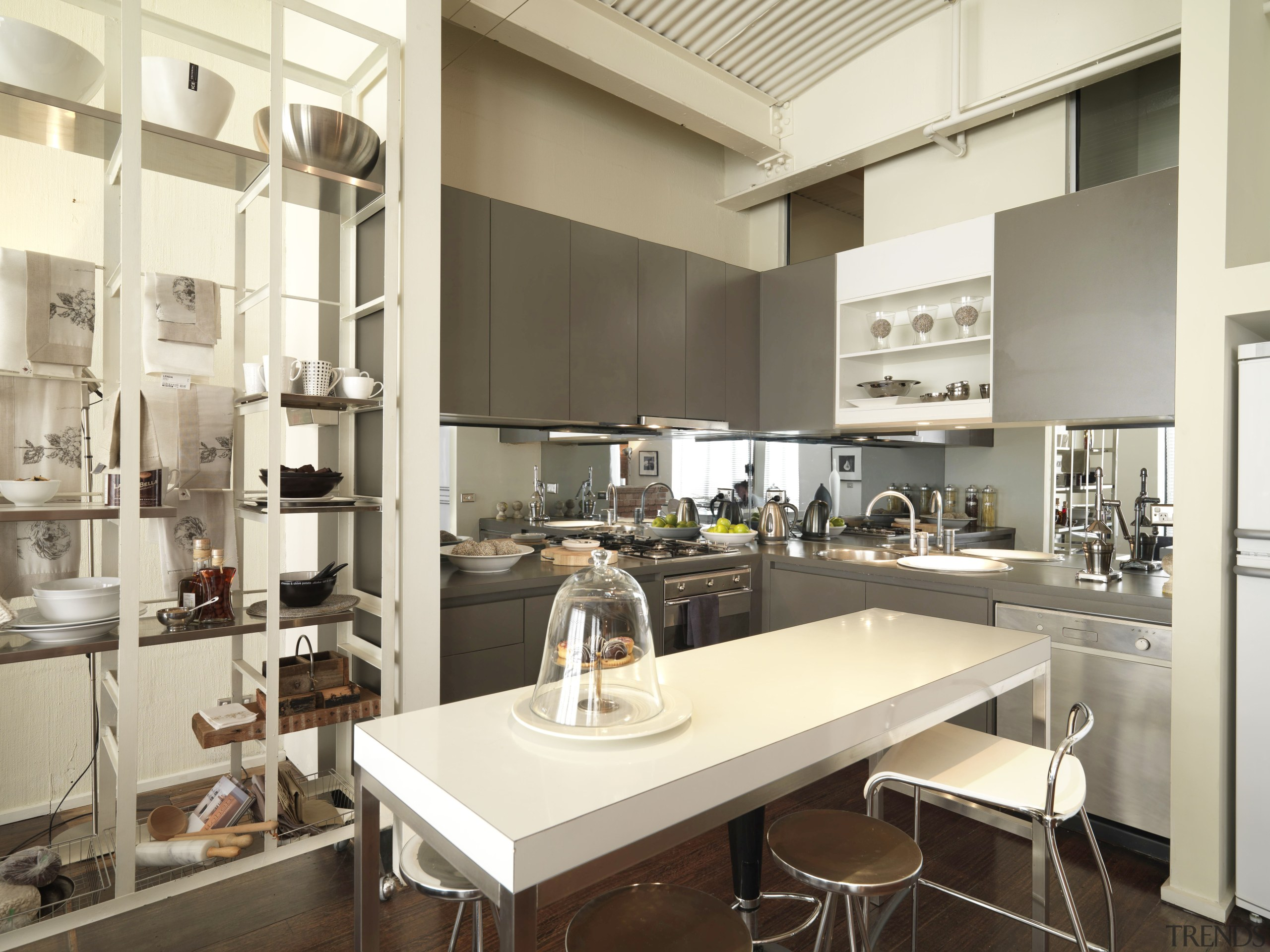 View of kitchen area with dark-stained timber flooring, countertop, interior design, kitchen, white, brown