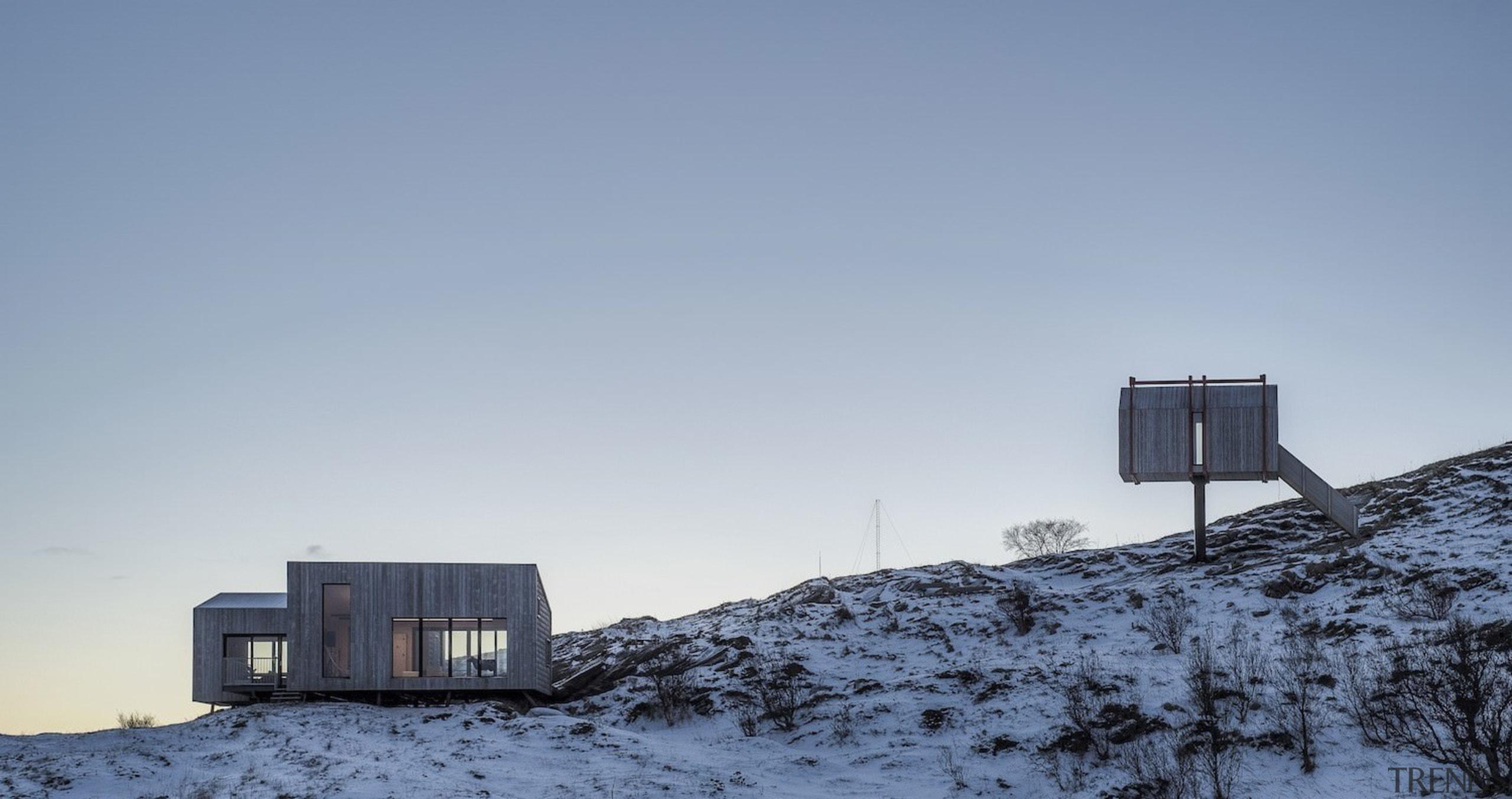 Architect: TYIN tegnestue ArchitectsPhotographer: Pasi Aalto / architecture, arctic, building, freezing, house, mountain, mountain range, sky, snow, winter, gray