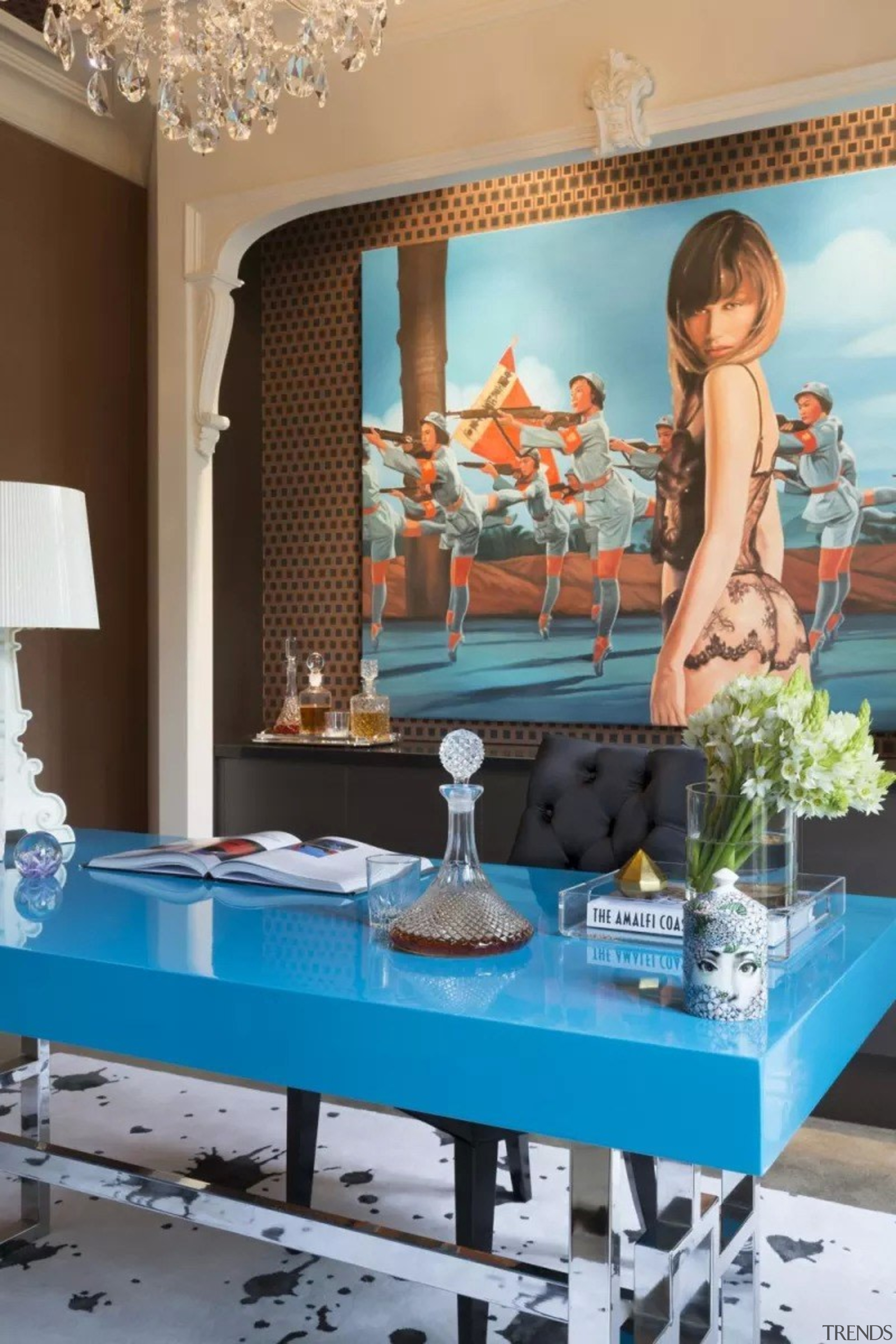 French classic-style residence by Massimo Interiors blue, furniture, interior design, room, table