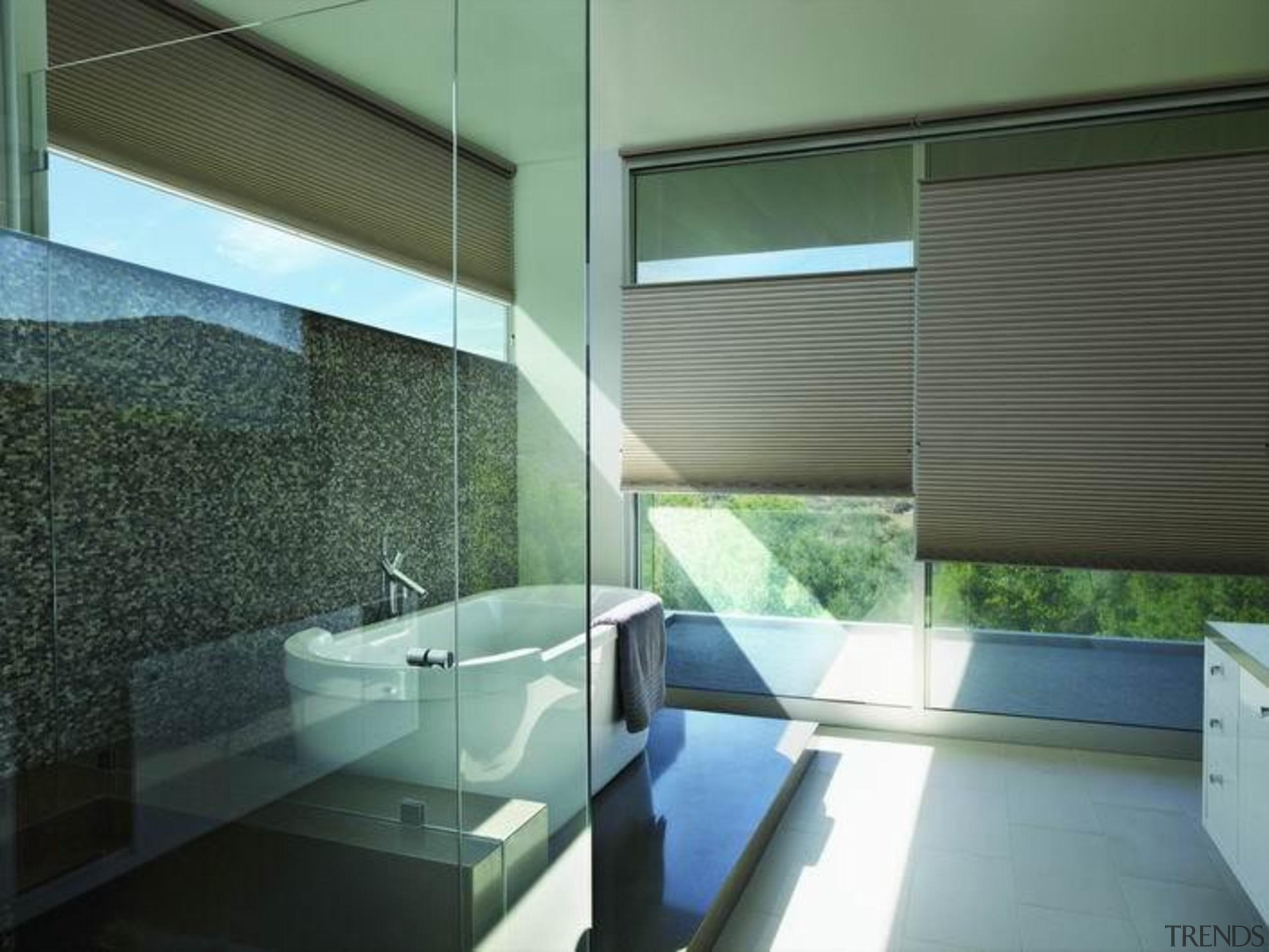luxaflex duette shades - luxaflex duette shades - architecture, bathroom, daylighting, glass, home, house, interior design, property, real estate, shade, window, window blind, window covering, window treatment, green, black