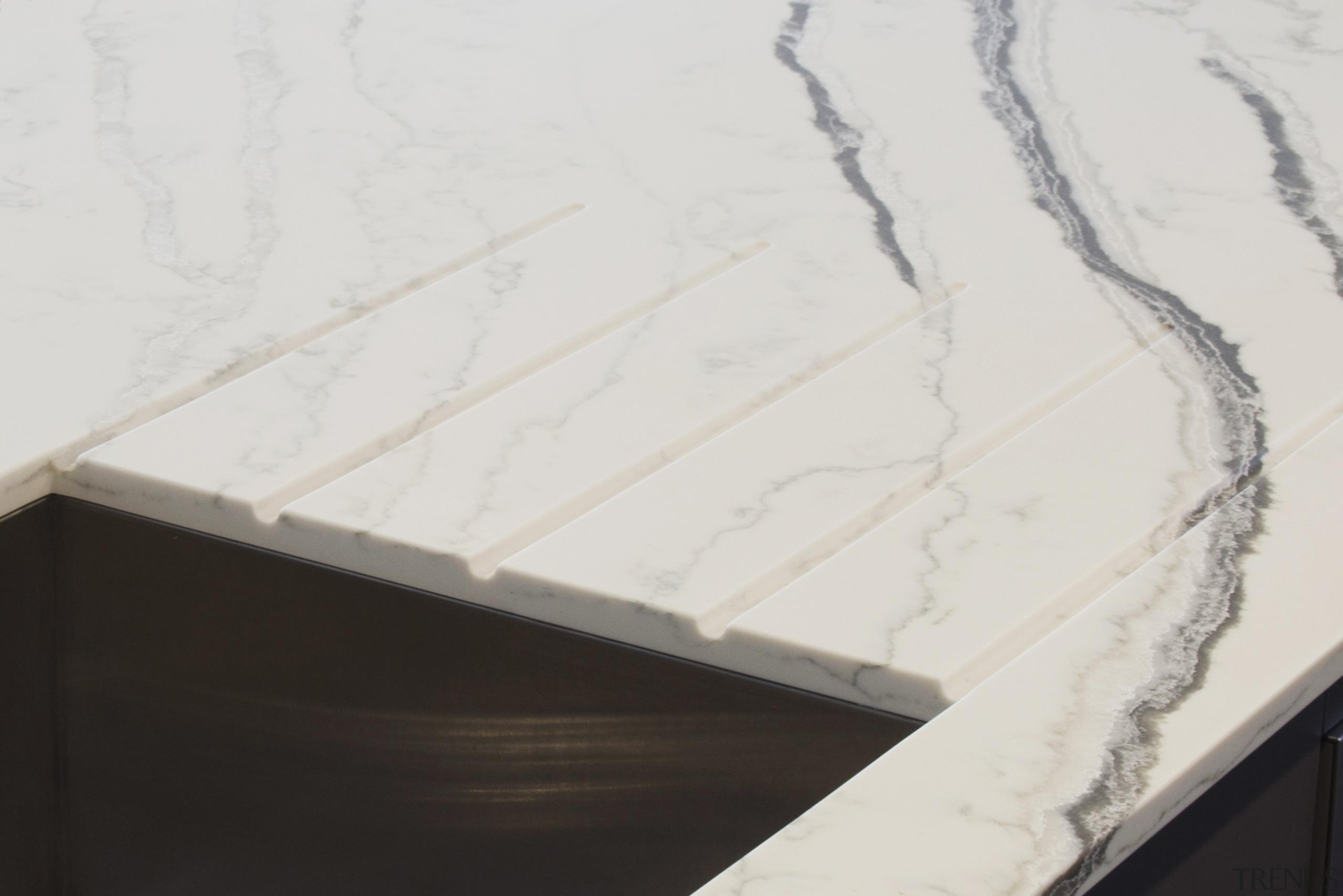 Strategic grooves in this Bianco Molasa Smartstone benchtop Smartstone, engineered stone,  kitchen,  benchtop Bianco Molasa