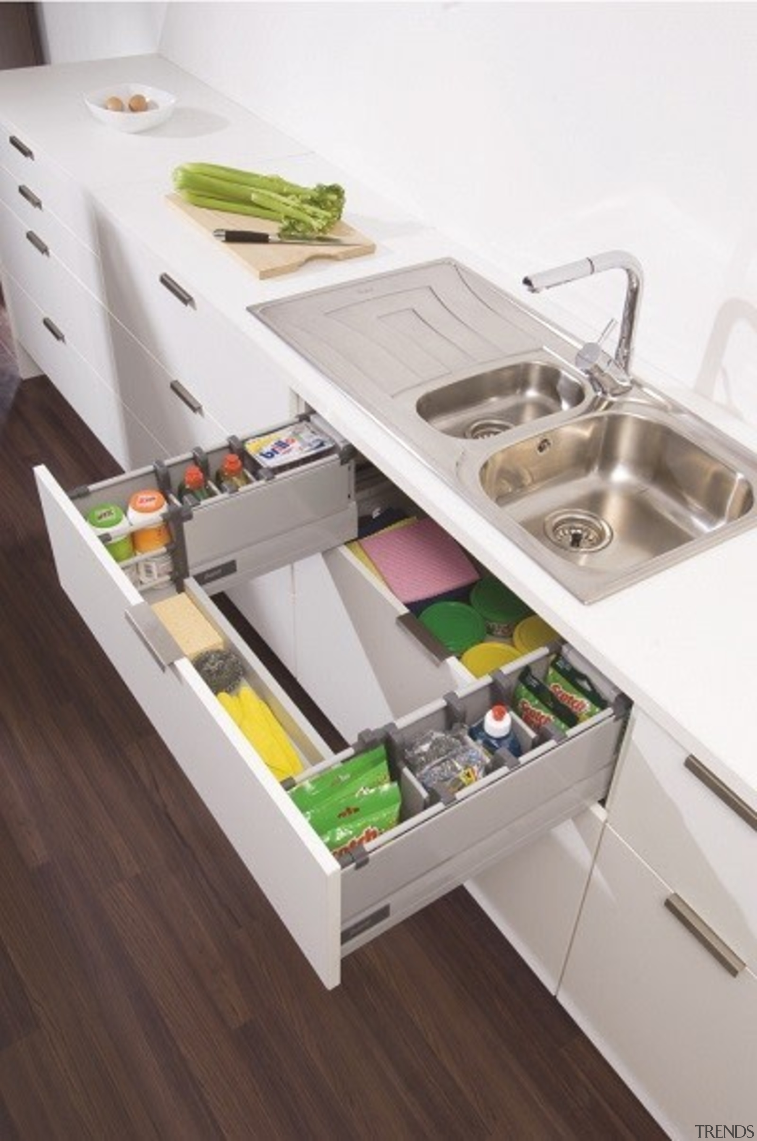 Make use of that otherwise wasted space under countertop, drawer, furniture, kitchen, plumbing fixture, product design, sink, table, tap, white