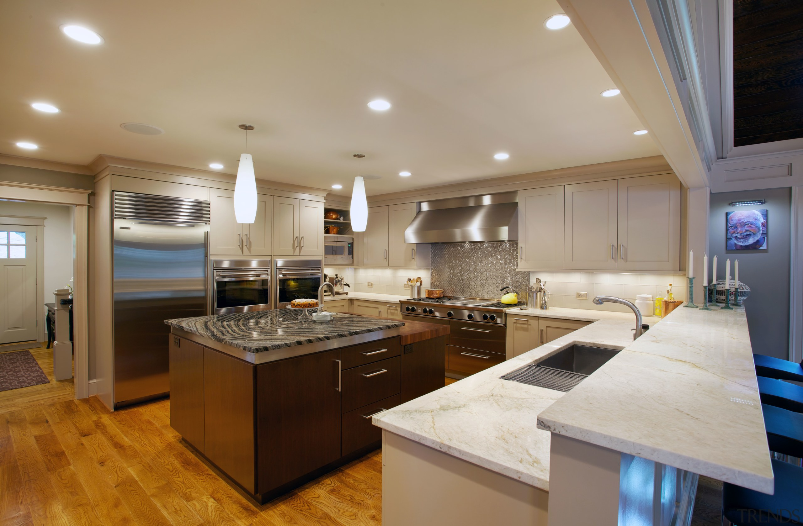 The new kitchen in this remodel by architect cabinetry, ceiling, countertop, cuisine classique, hardwood, interior design, kitchen, real estate, room, gray, brown