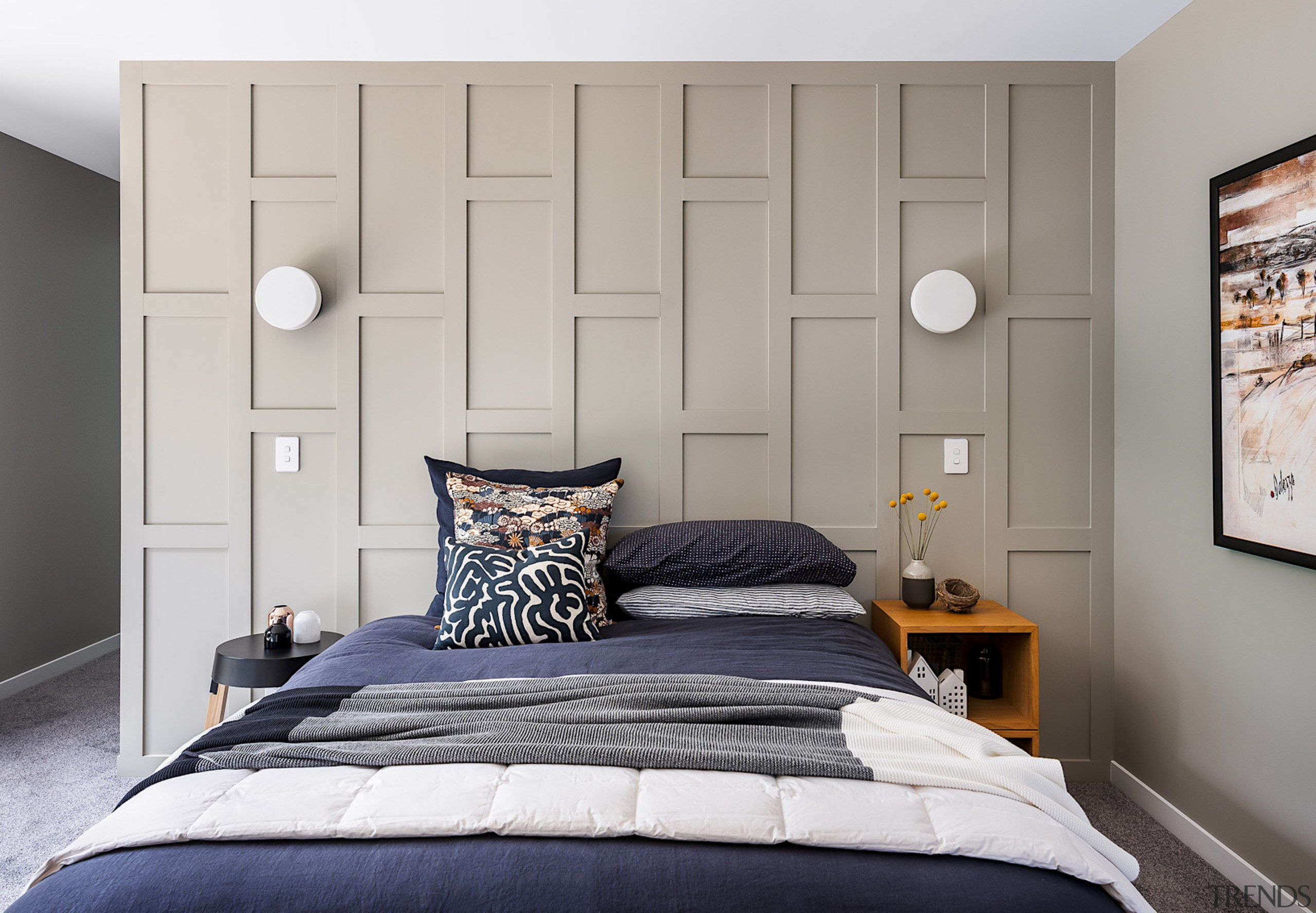The master bedroom bedhead wall was built cost