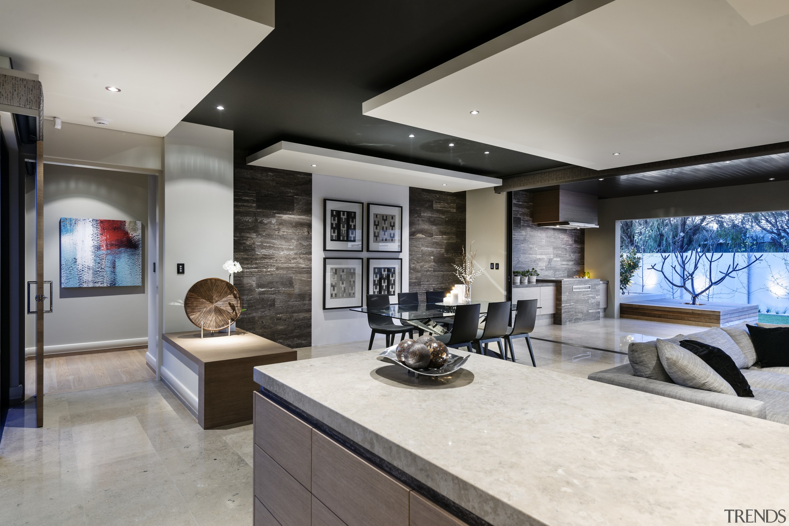 Kitchen connects with outdoor living spaces by shared interior design, living room, real estate, gray
