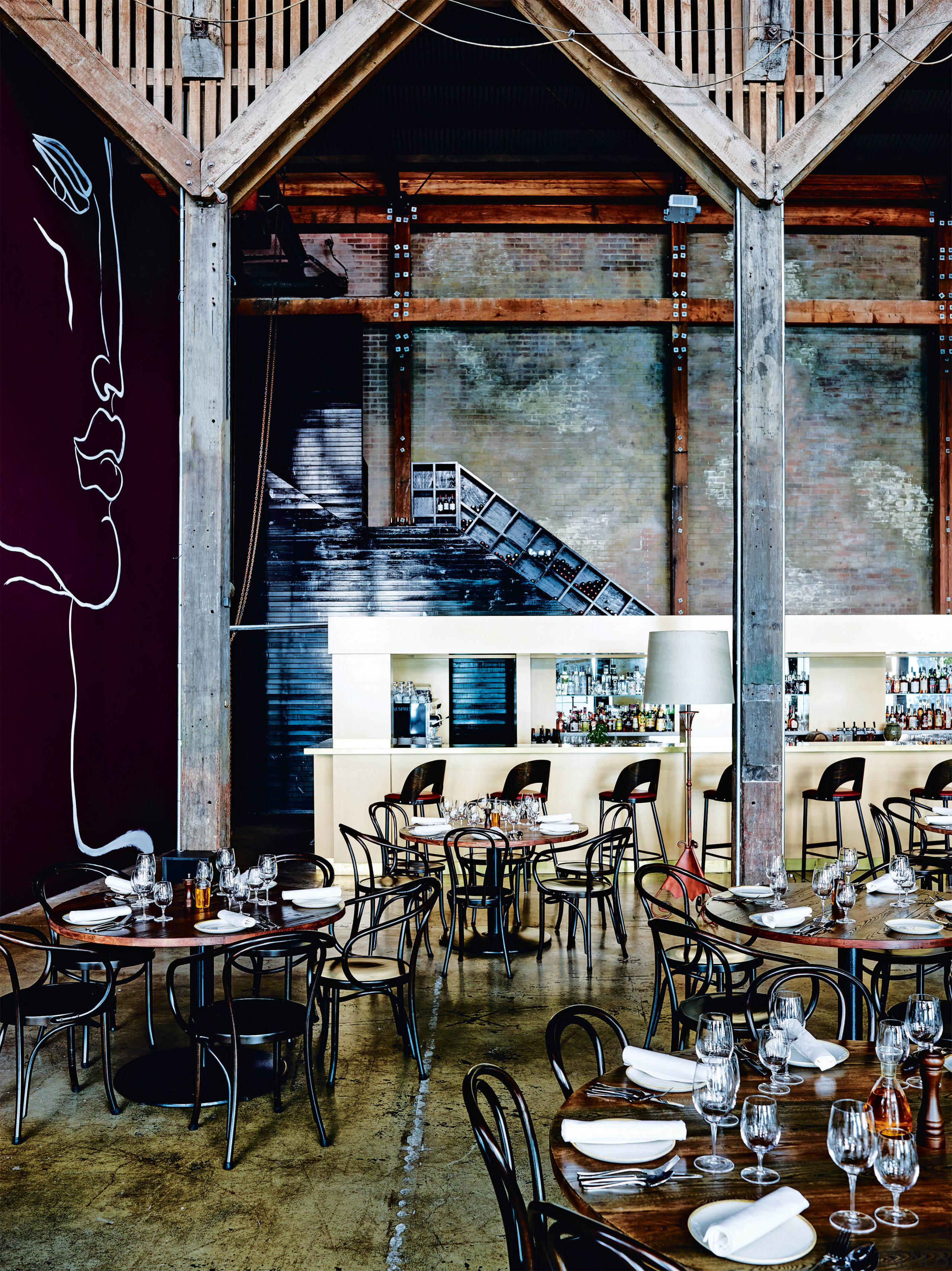 :Attention to colour brings a sense of intimacy dining room, furniture, interior design, restaurant, table, black