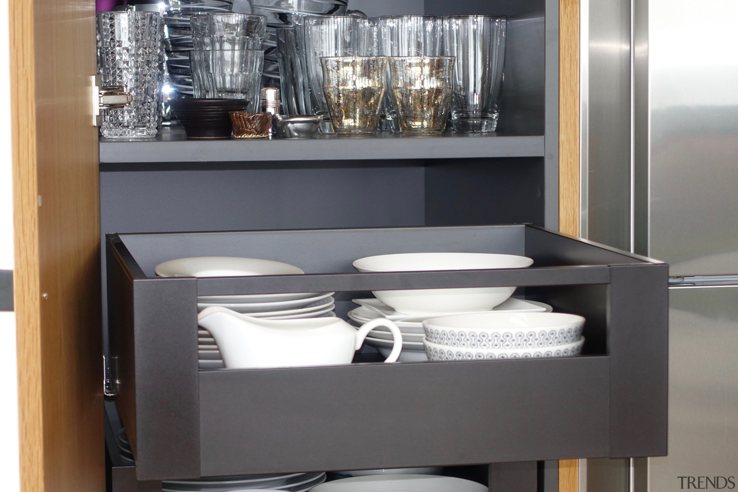 Colour coordinated – even the space-efficient cabinet interiors cabinetry, cupboard, display case, drawer, room, shelf, shelving, Eliska Lewis Architects