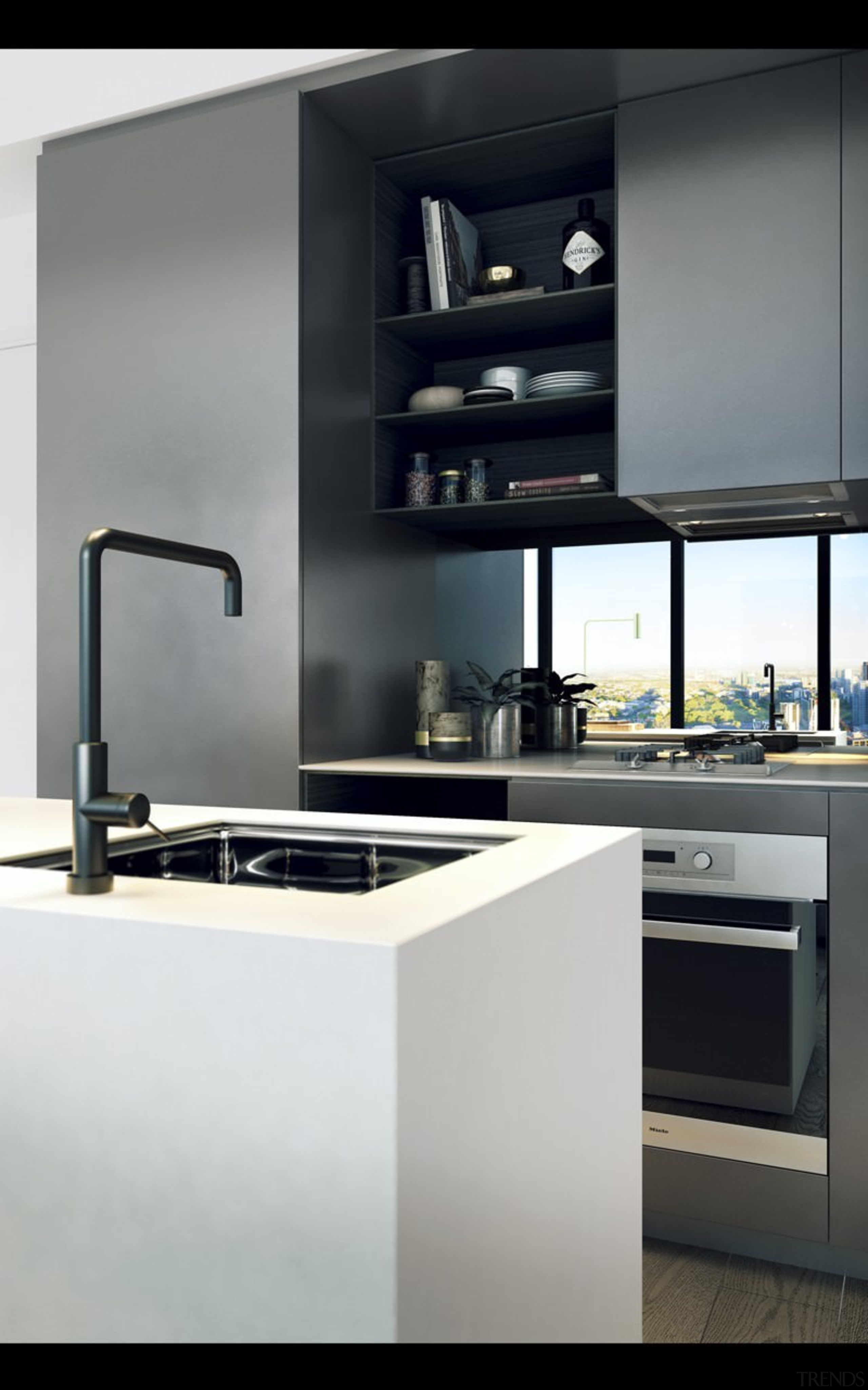 This kitchen makes the most of the space countertop, home appliance, interior design, kitchen, kitchen appliance, kitchen stove, product design, sink, small appliance, tap, gray, black, white