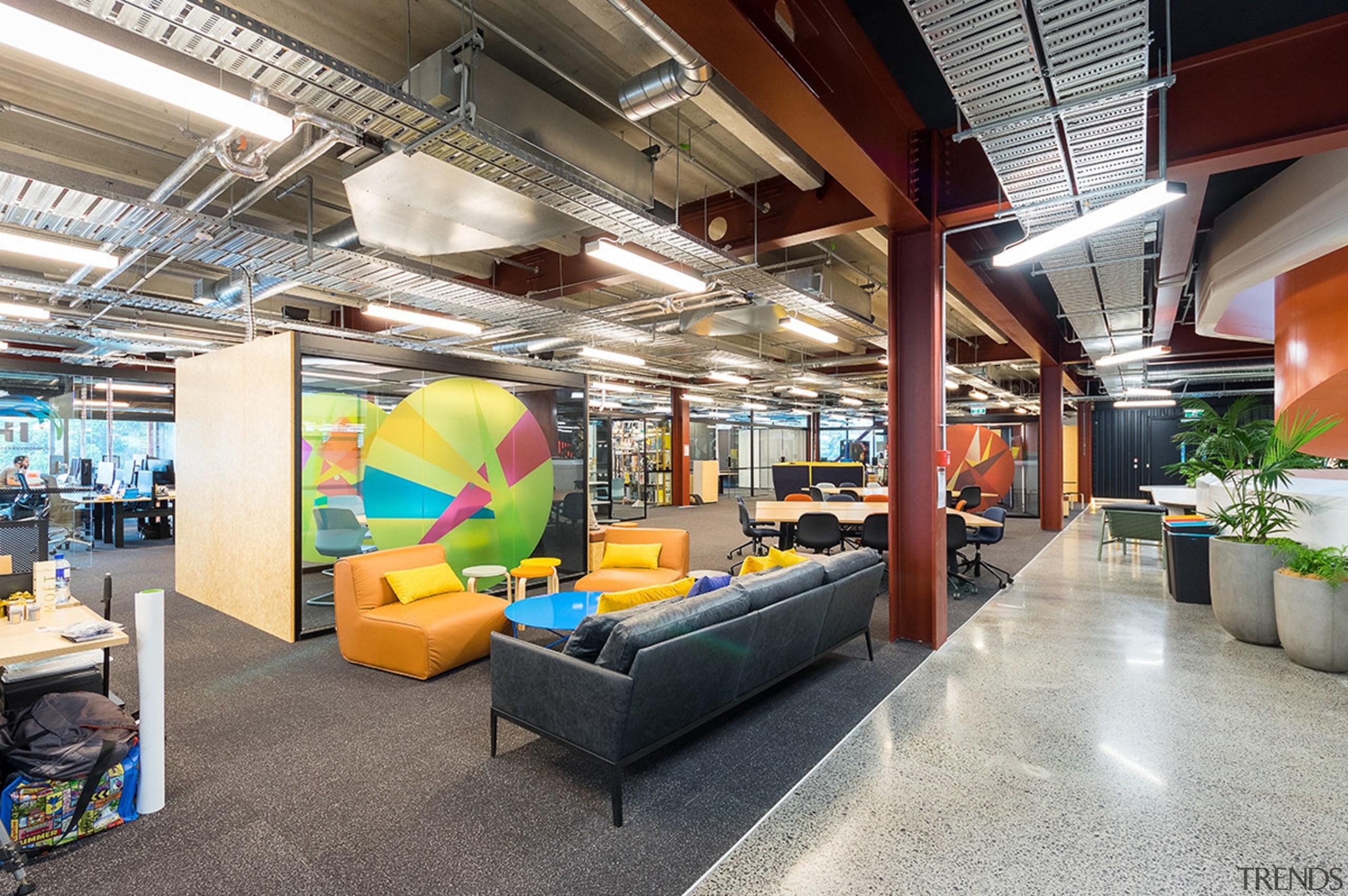 Mohawk Group carpet tiles provide a tough, neutral interior design, gray
