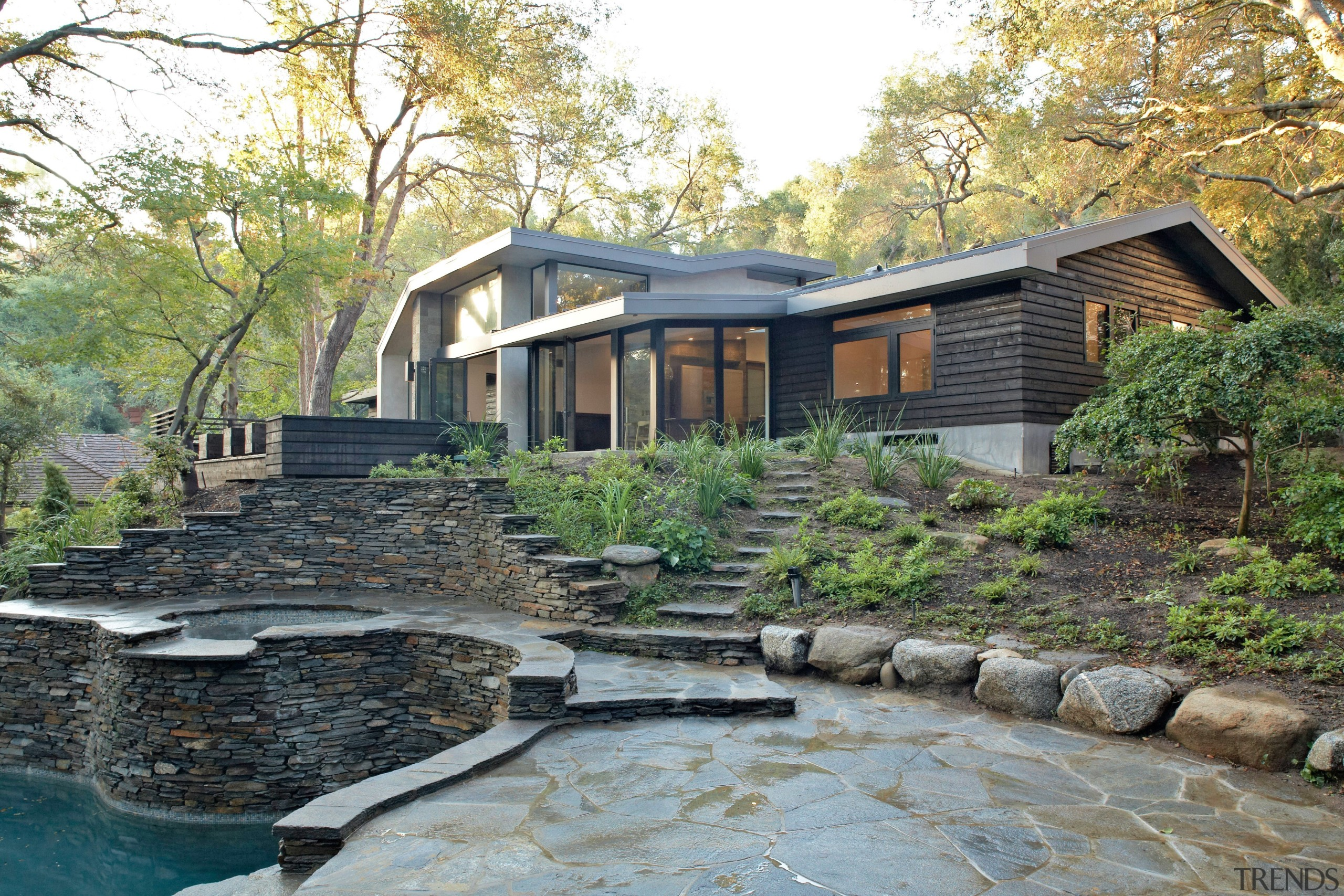 This woodland home by (fer) studio is designed architecture, backyard, cottage, estate, home, house, landscape, property, real estate, water, gray