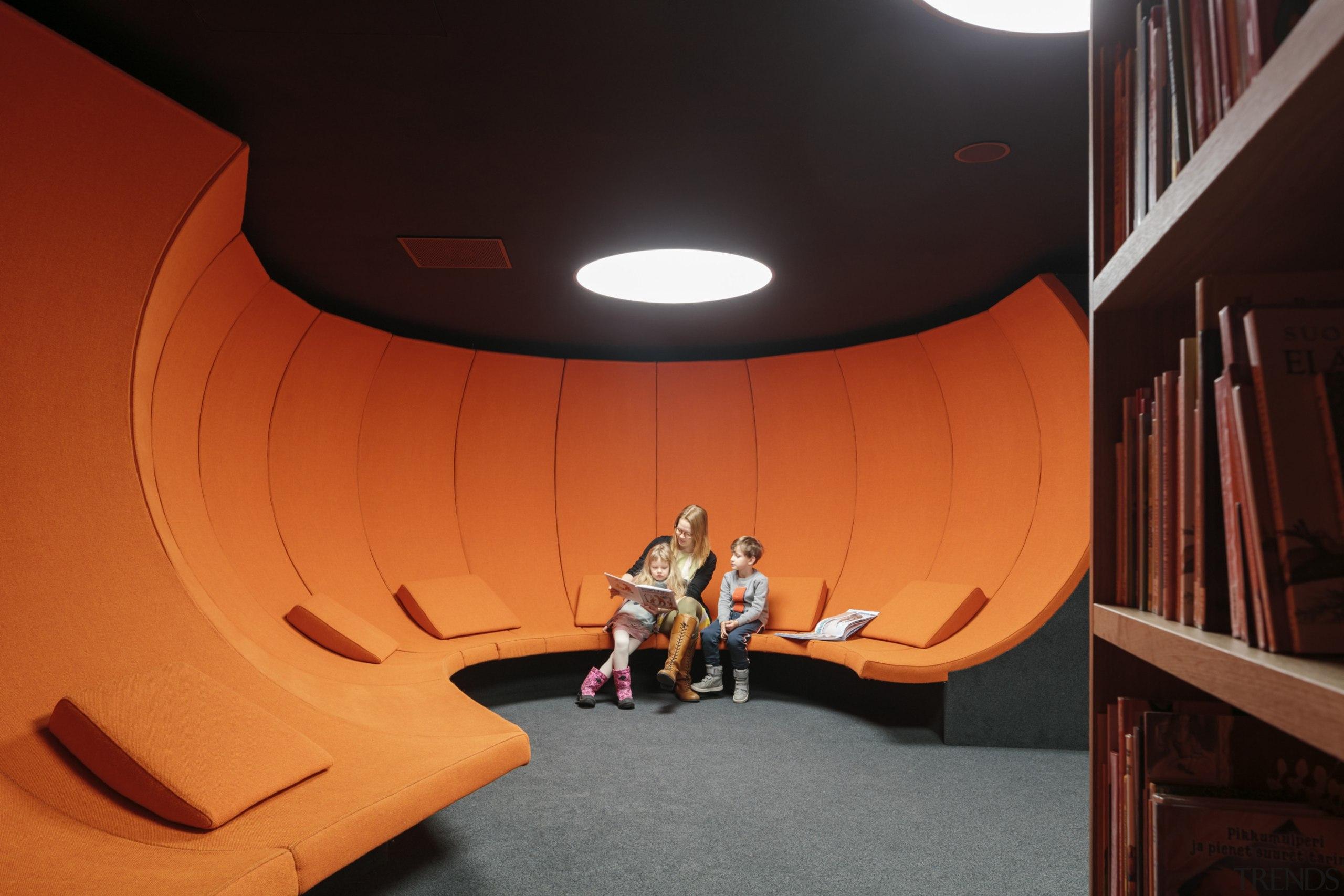 Take me away - the atmospheric reading room architecture, ceiling, design, interior design, orange, stairs, black