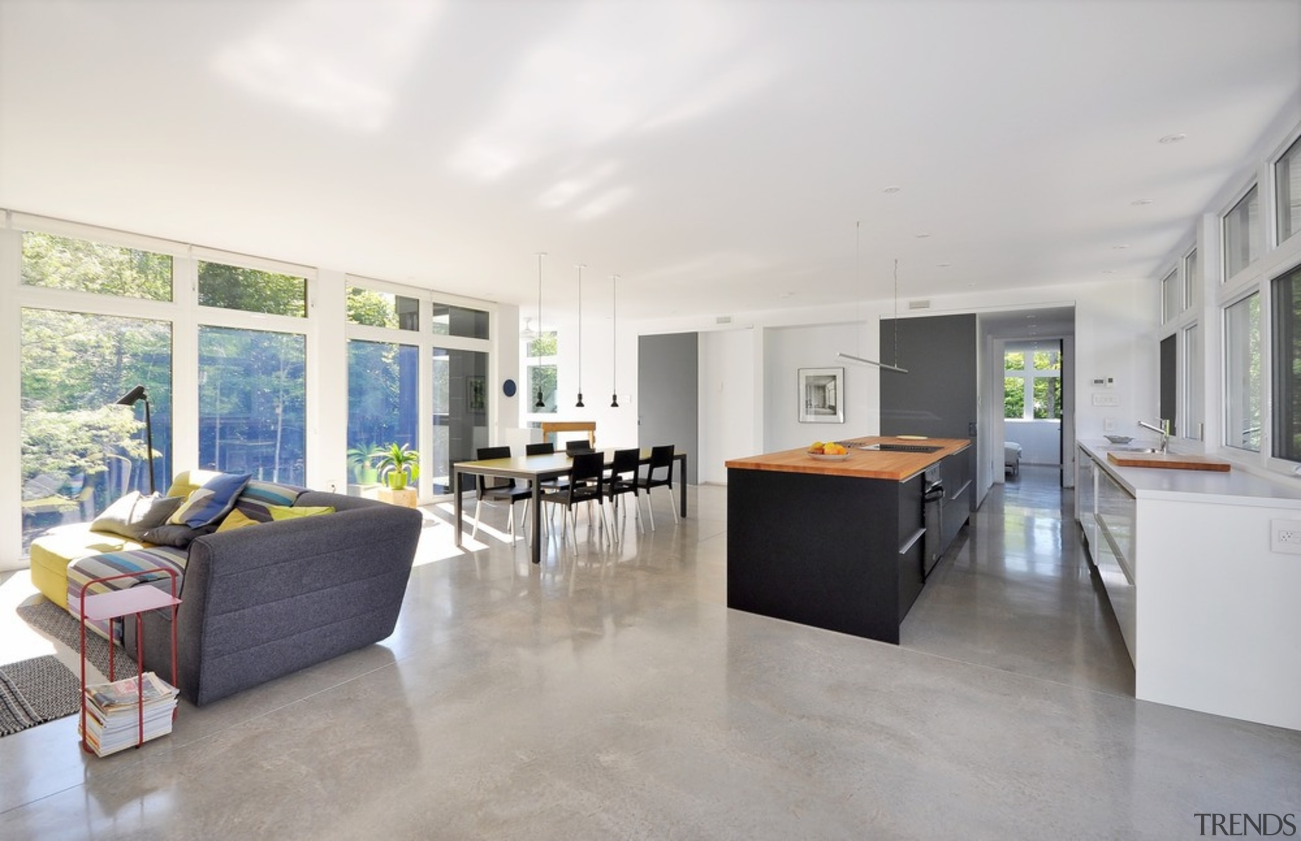 A central block containing the pantry, storage spaces architecture, ceiling, floor, flooring, house, interior design, living room, property, real estate, white, gray