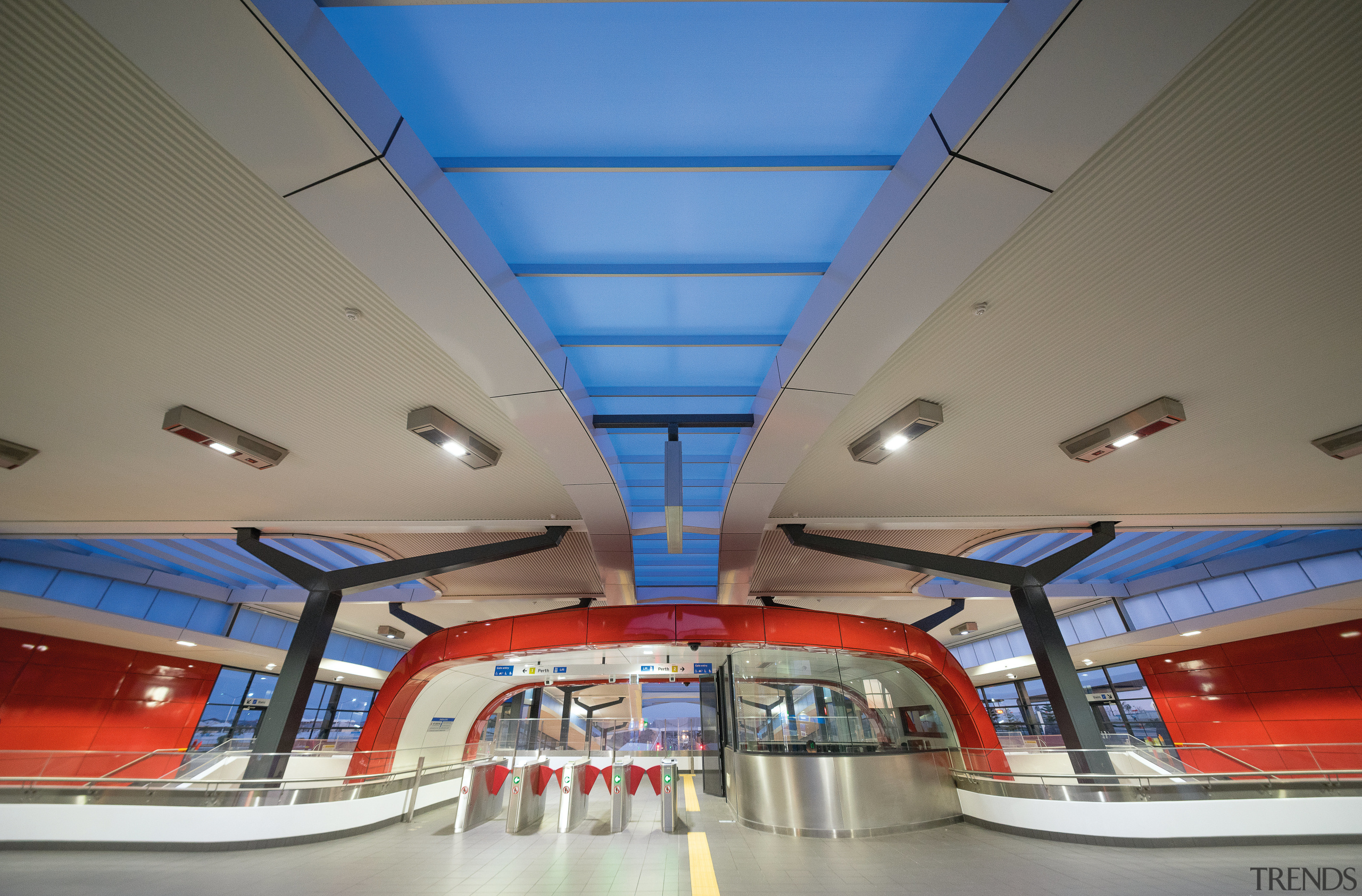 Blue Danpalon skylights link the two roofs of architecture, ceiling, daylighting, gray