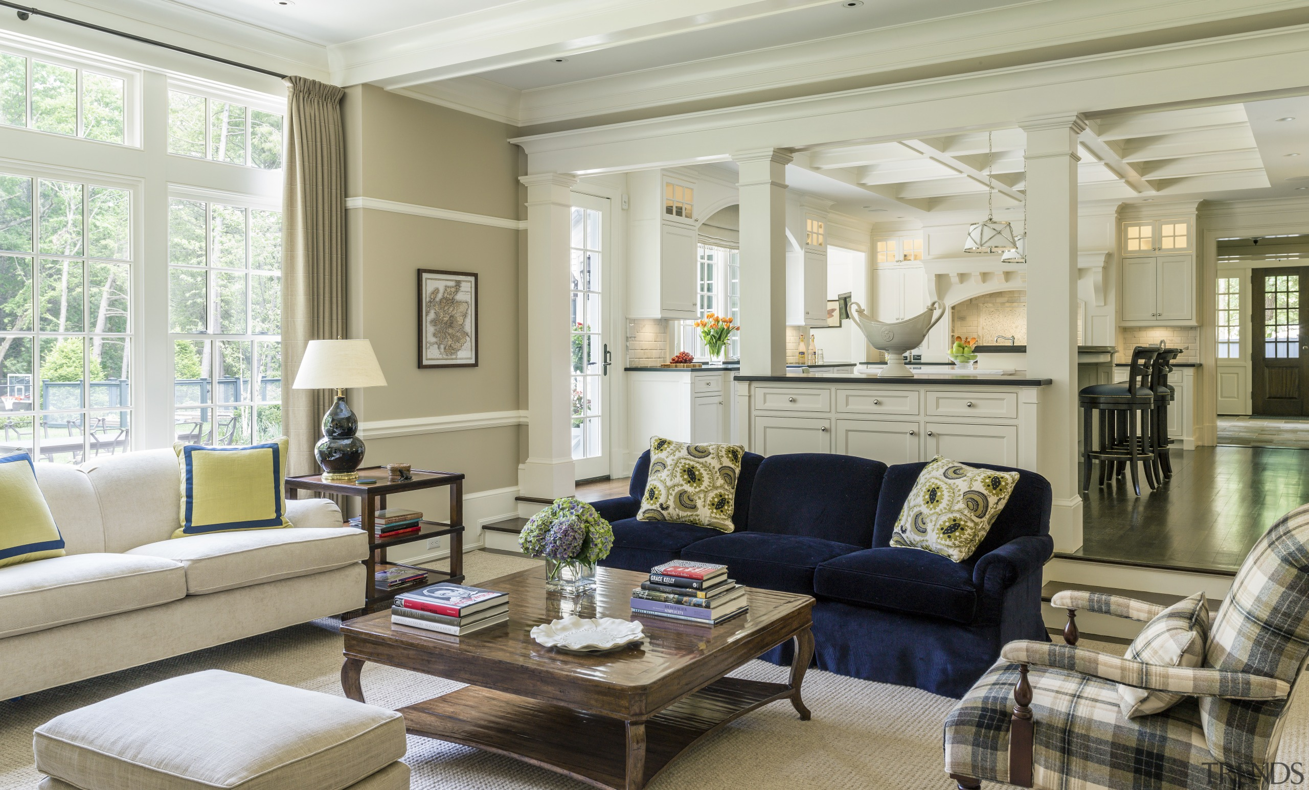 Traditional interior architecture is a key feature of ceiling, furniture, home, interior design, living room, room, window, gray