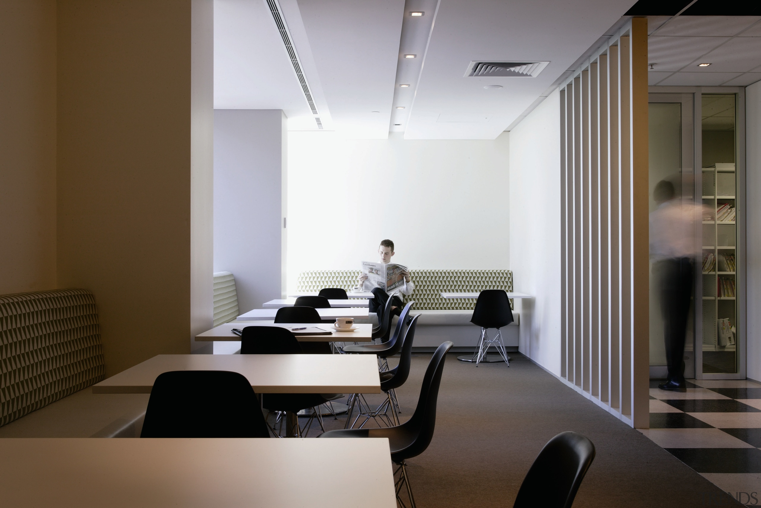 A view of the staff meeting area, grey ceiling, conference hall, interior design, office, brown, gray
