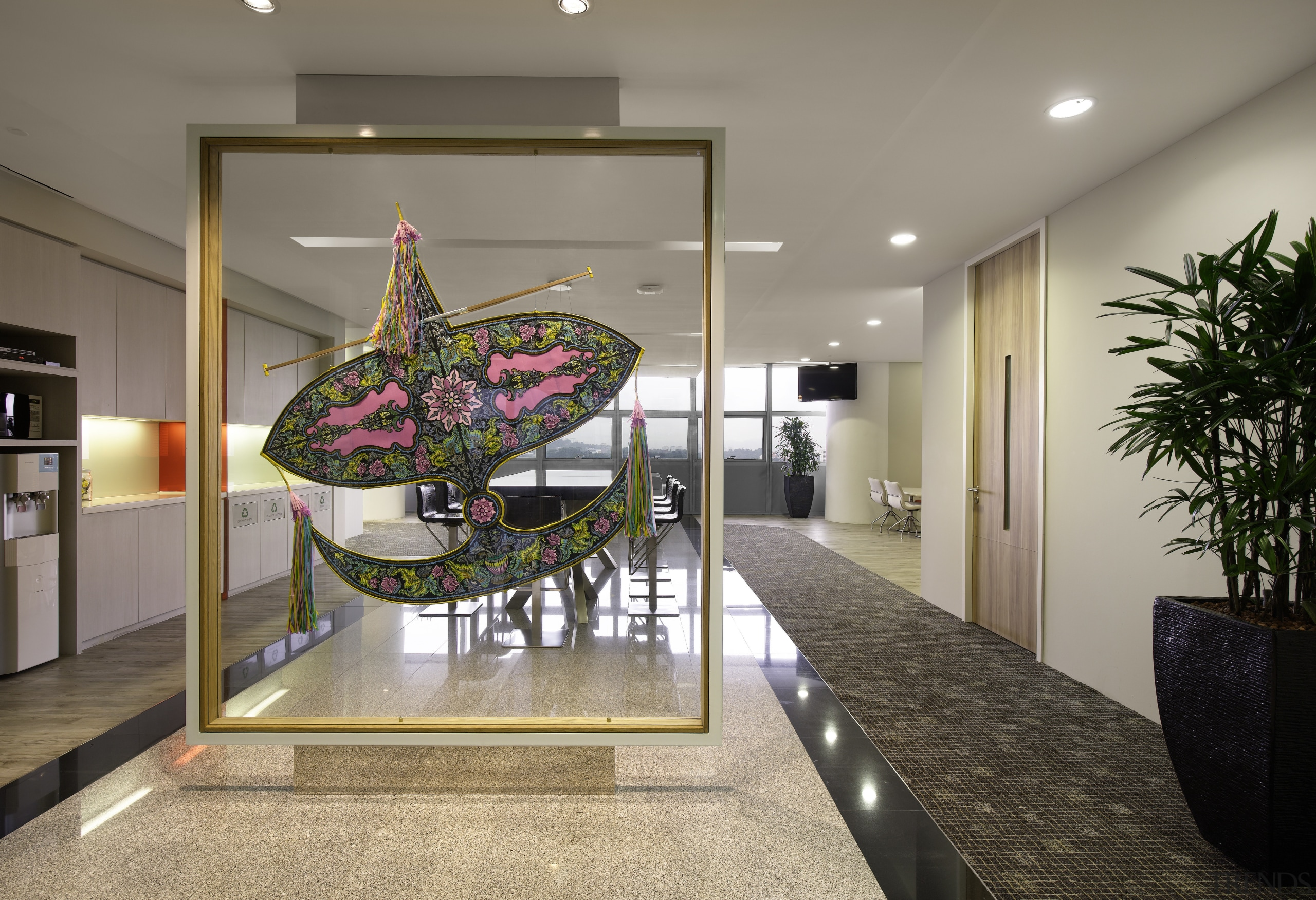 The Malaysian kite is one of several wayfinding interior design, lobby, real estate, gray