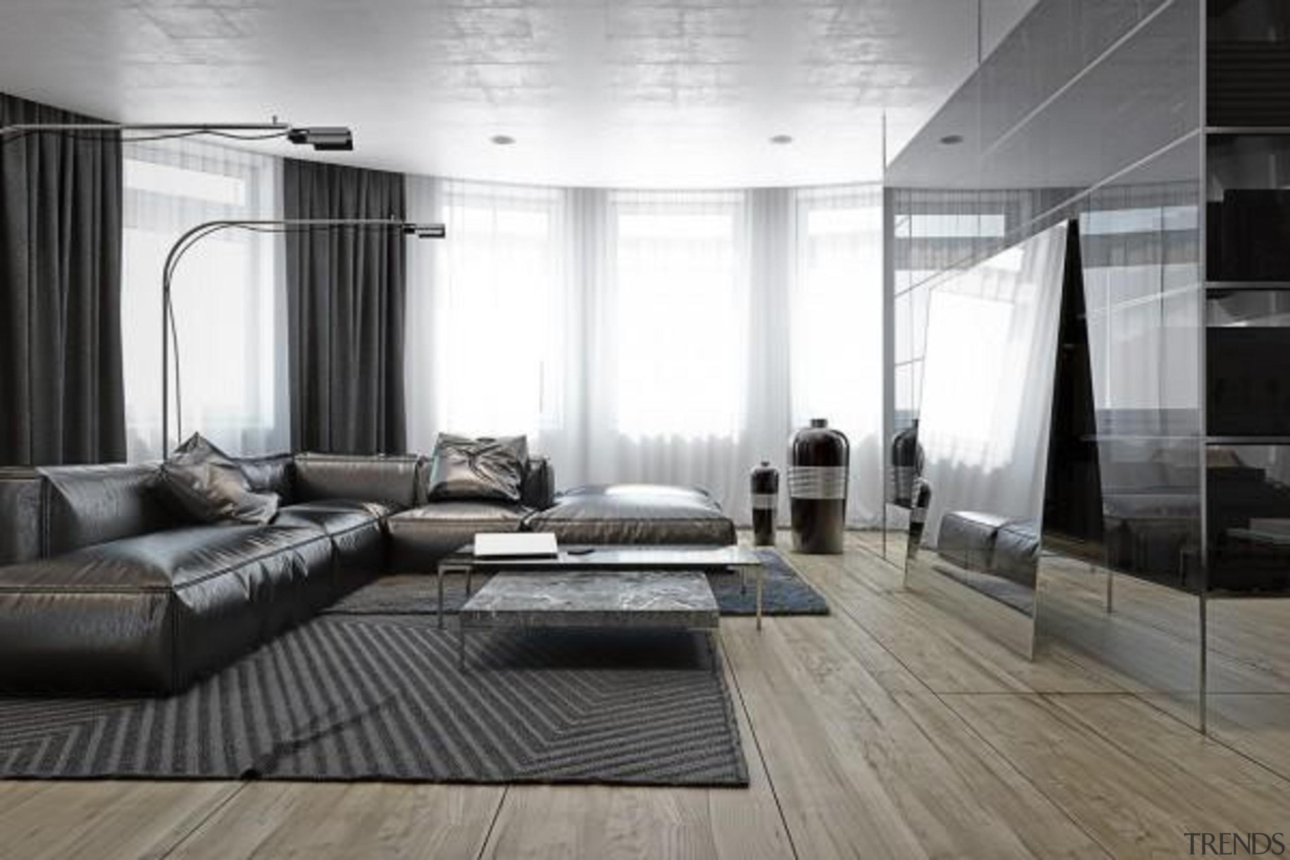 creative coffee table - Masculine Apartments - ceiling ceiling, floor, flooring, furniture, interior design, living room, room, wall, window, wood flooring, gray, white, black