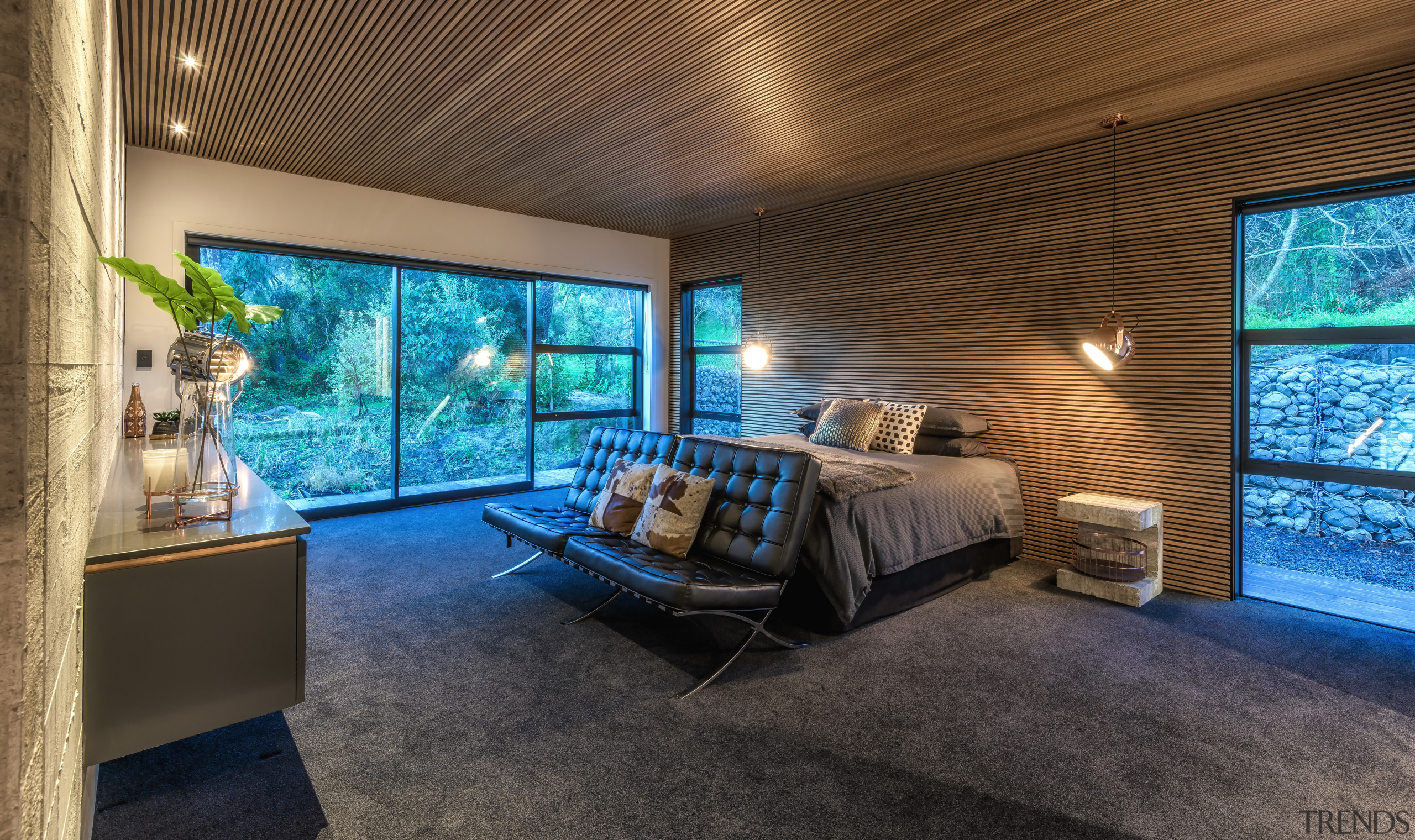 A large sliding glass door opens up this architecture, home, house, interior design, master suite, bedroom, Kirsty Davis Design
