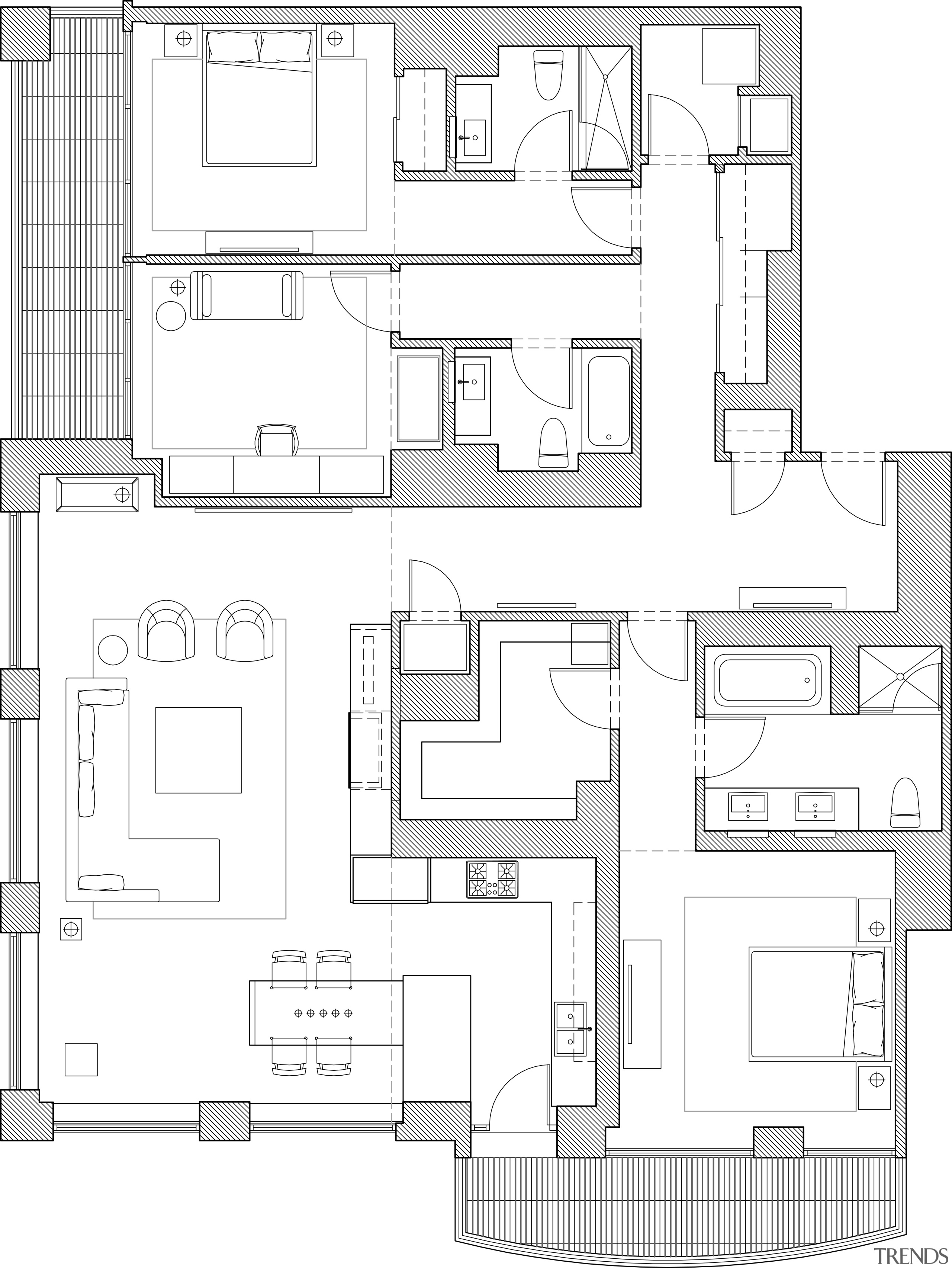 View of kitchen designed by Massey Hoffman Architects architecture, area, artwork, black and white, design, drawing, elevation, facade, floor plan, home, line, line art, plan, product, product design, residential area, square, structure, technical drawing, white