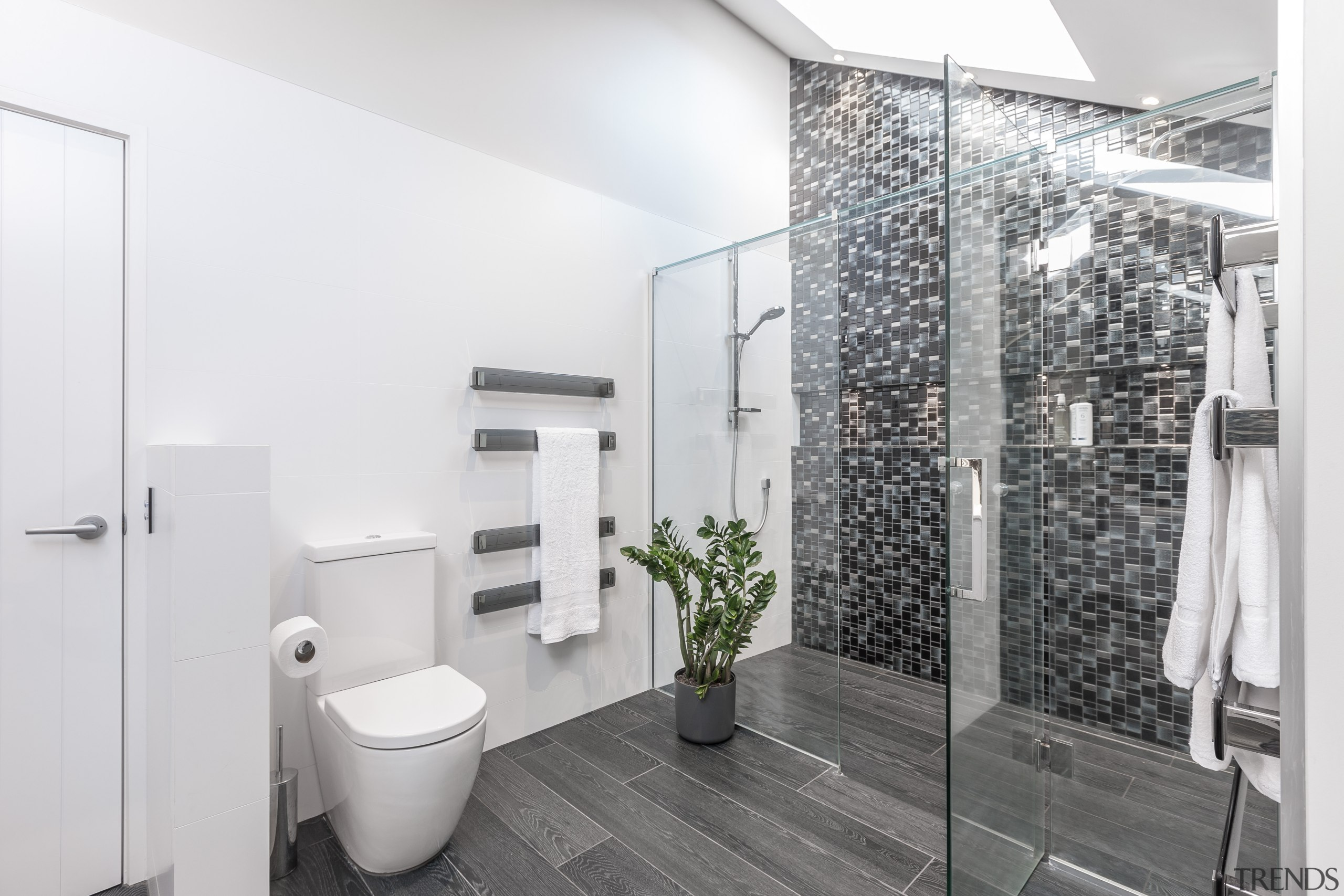 Twinkling mosaics, a glass shower stall and a architecture, bathroom, home, interior design, real estate, room, white, gray