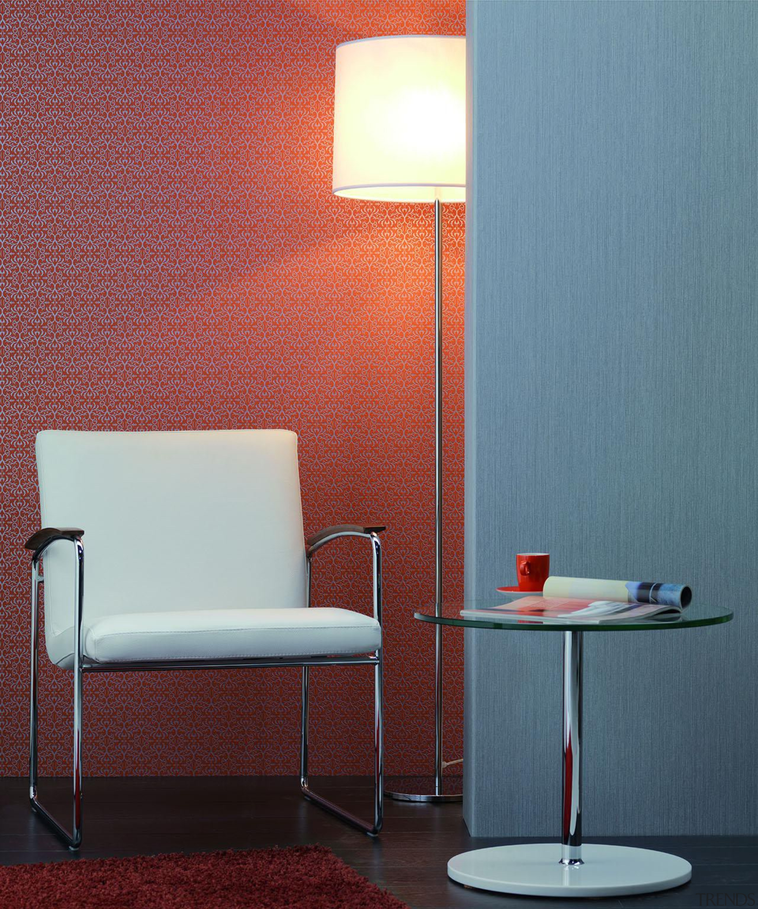 Modern Style Range - ceiling   chair   ceiling, chair, floor, flooring, furniture, interior design, lamp, lampshade, light, light fixture, lighting, lighting accessory, orange, product design, table, wall, red, teal