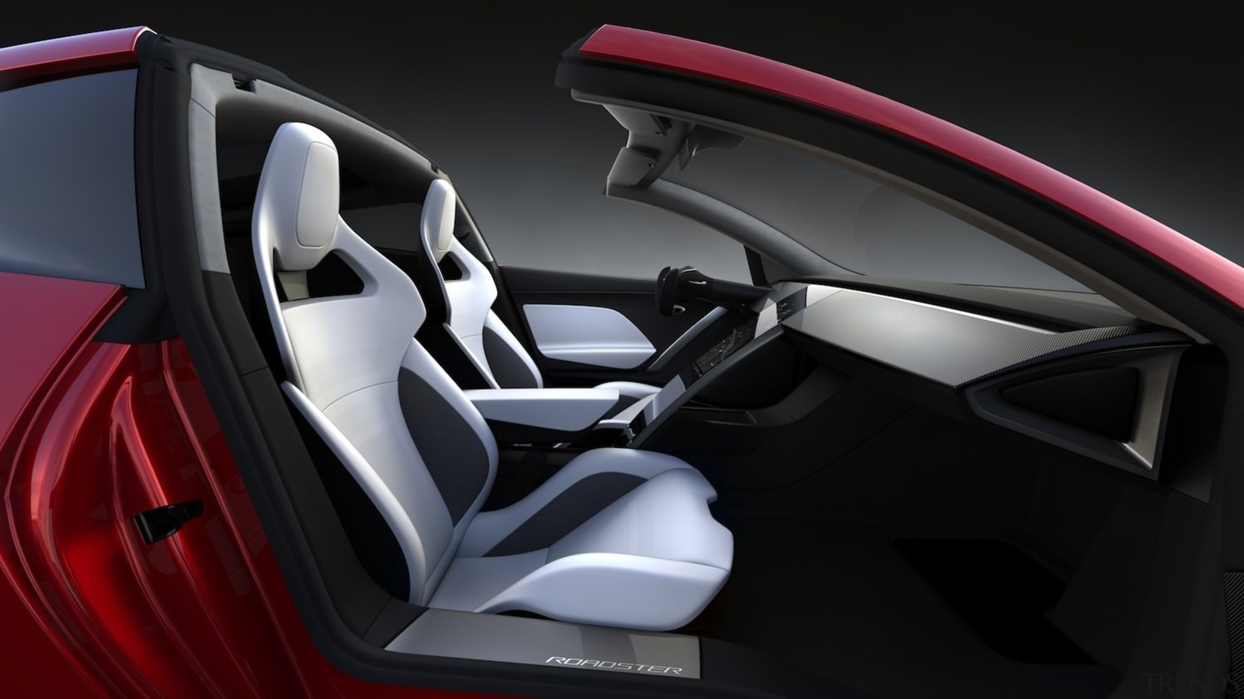Tesla's new Roadster - Tesla's new Roadster - automotive design, car, car seat, car seat cover, center console, concept car, land vehicle, motor vehicle, personal luxury car, product design, sports car, steering wheel, vehicle, vehicle door, black