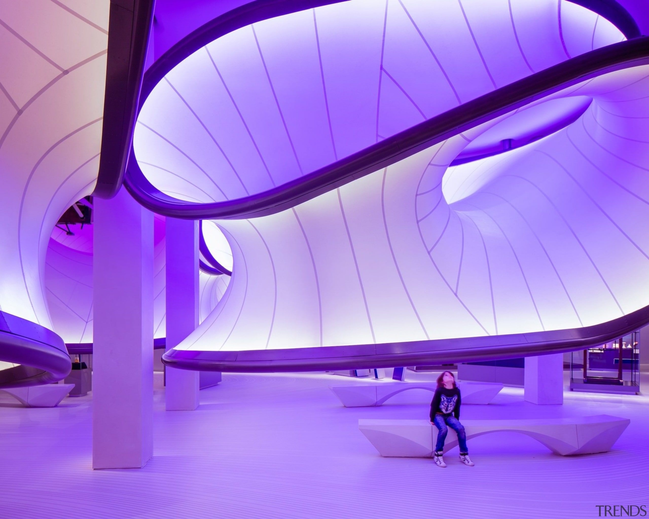 Zaha Hadid – Mathematics: The Winton Gallery – architecture, blue, ceiling, computer wallpaper, daylighting, leisure centre, light, lighting, product design, purple, structure, purple