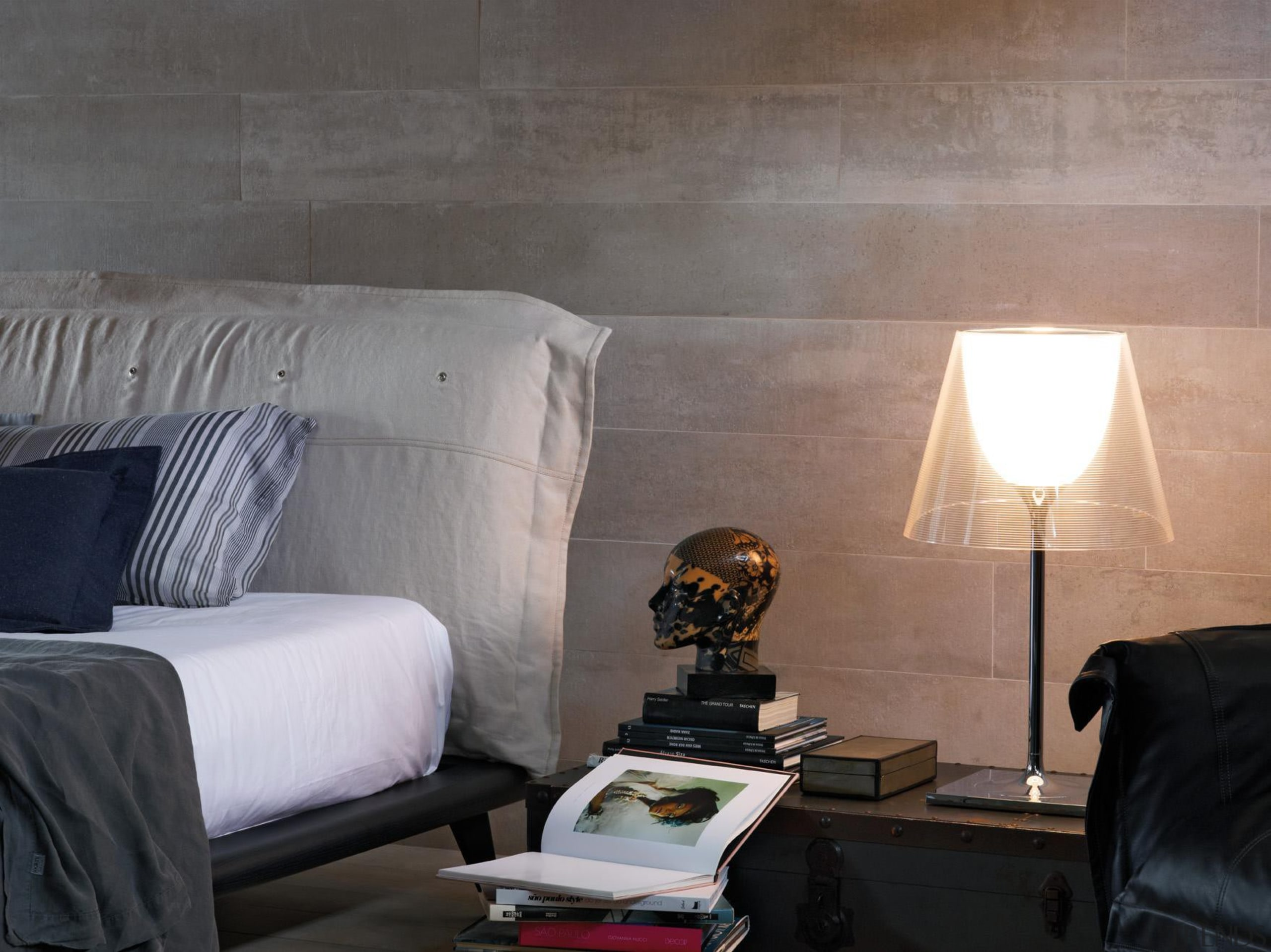 1200x200mm format porcelain tiles used on a feature bedroom, ceiling, floor, flooring, furniture, home, interior design, lighting, living room, room, wall, window, wood, gray