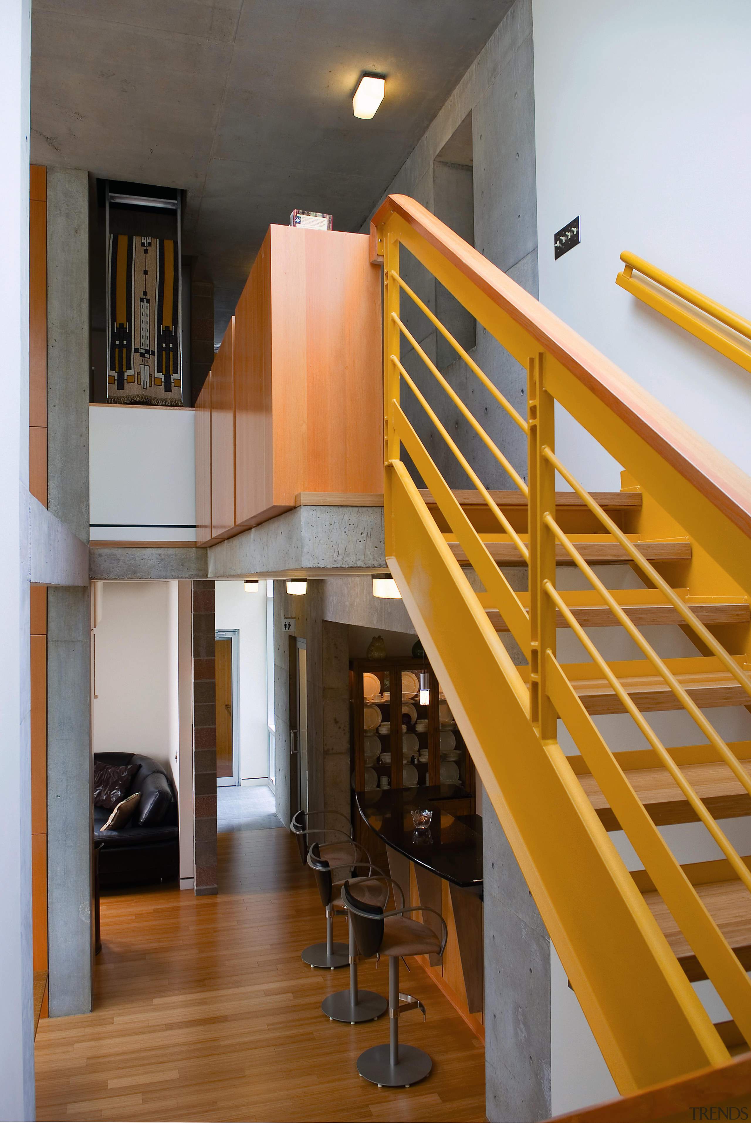 A view of the timber staircase, timber flooring architecture, daylighting, handrail, house, interior design, loft, stairs, wood, gray, brown