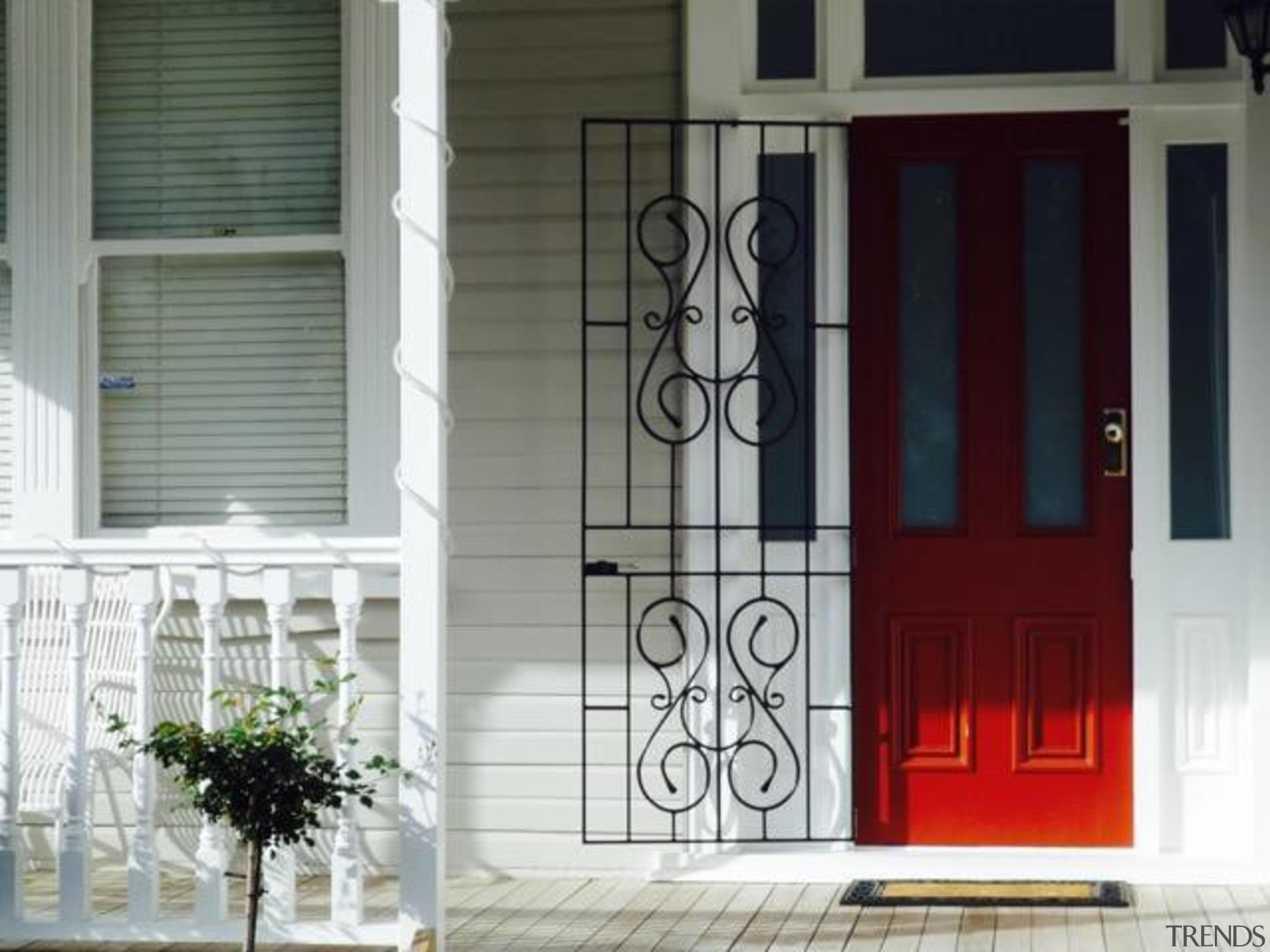 grange view road enhanced.jpeg - grange_view_road_enhanced.jpeg - architecture architecture, door, facade, gate, home, house, iron, porch, screen door, structure, window, gray, white