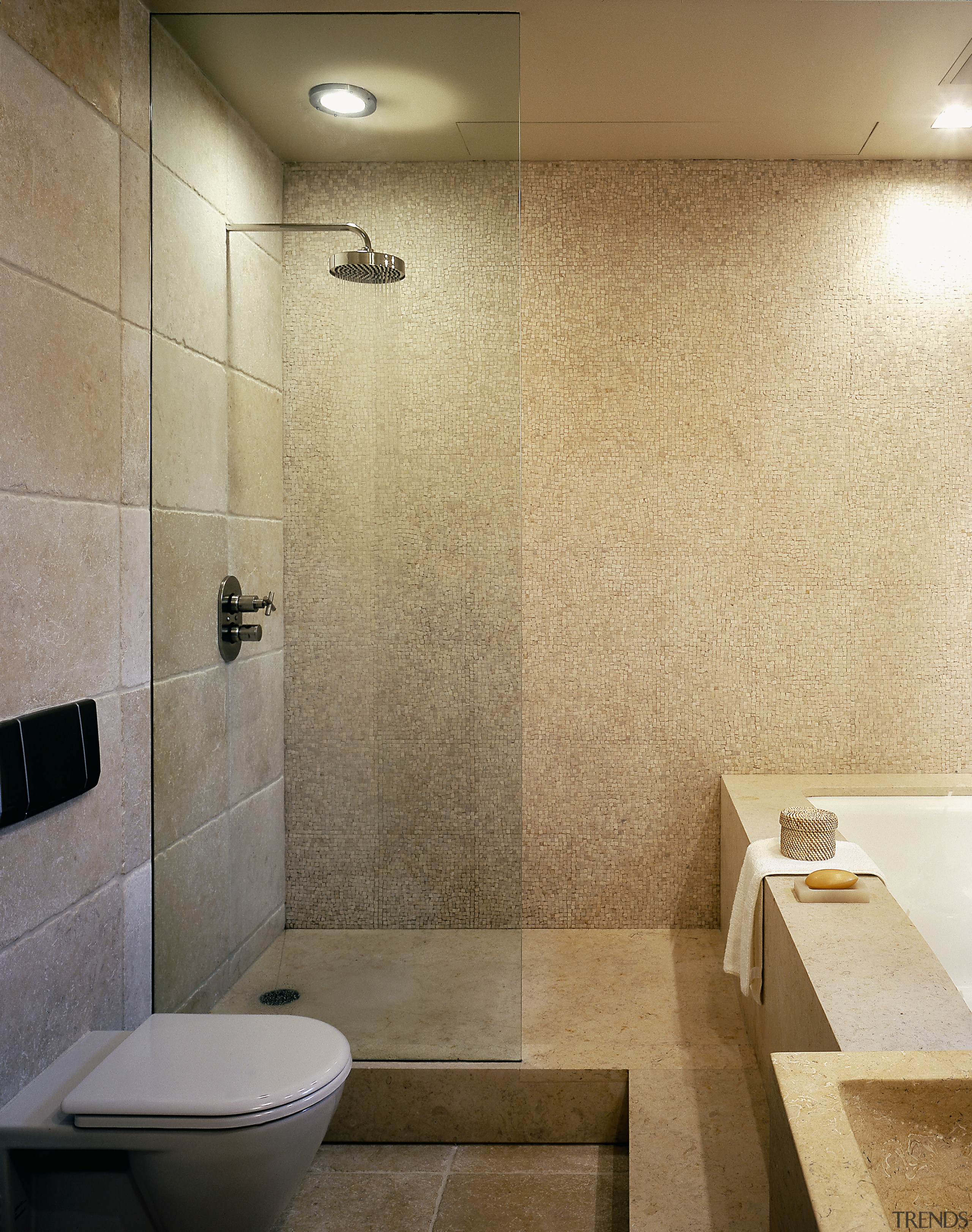 View of this bathroom featuring two seater bathtub, bathroom, ceiling, ceramic, floor, flooring, interior design, plumbing fixture, product design, room, tile, wall, brown, orange