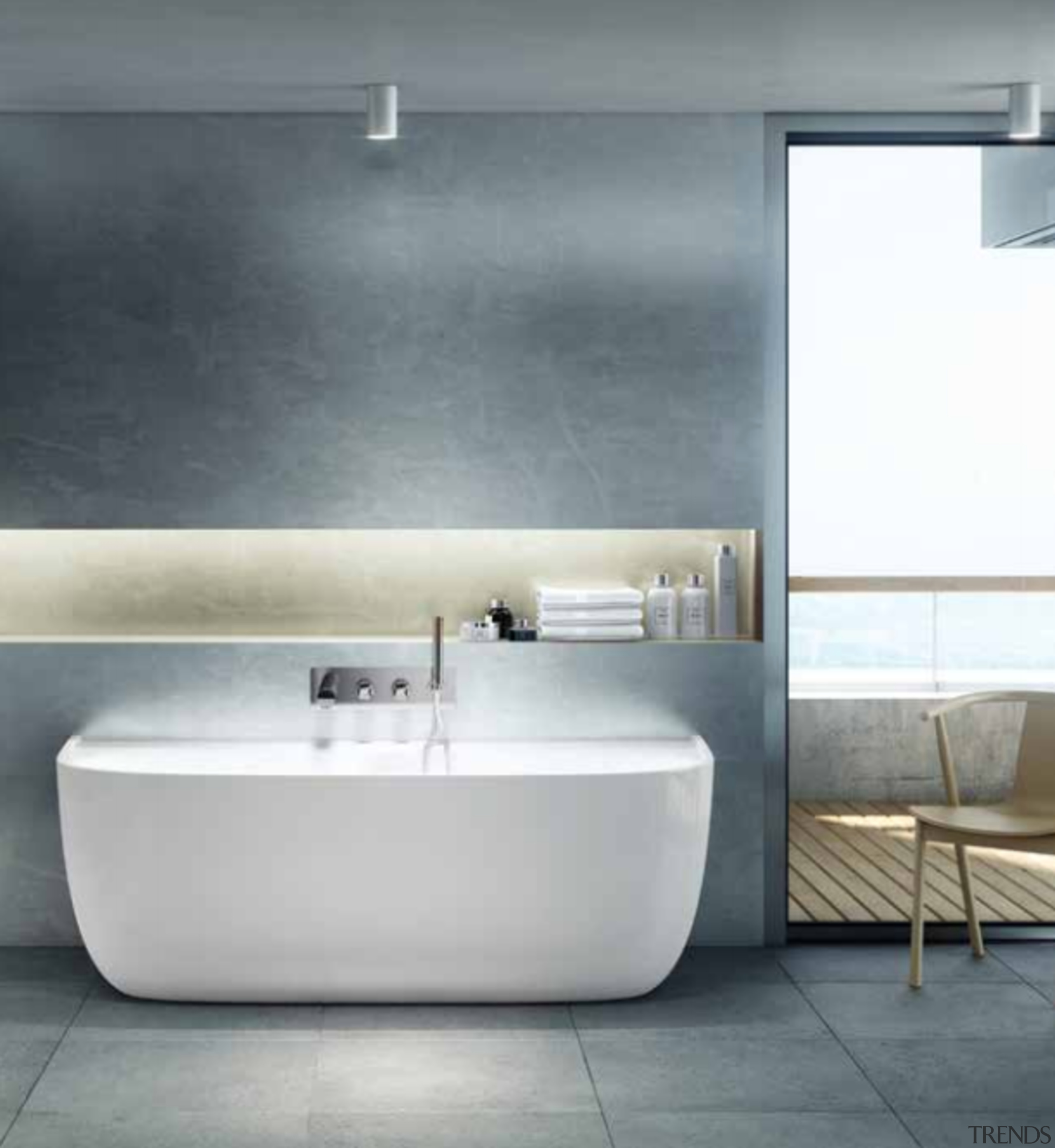Showered in great ideas - architecture | bathroom architecture, bathroom, bathroom accessory, bathroom sink, bathtub, bidet, ceramic, floor, flooring, furniture, interior design, material property, plumbing fixture, property, room, sink, tap, tile, wall, gray