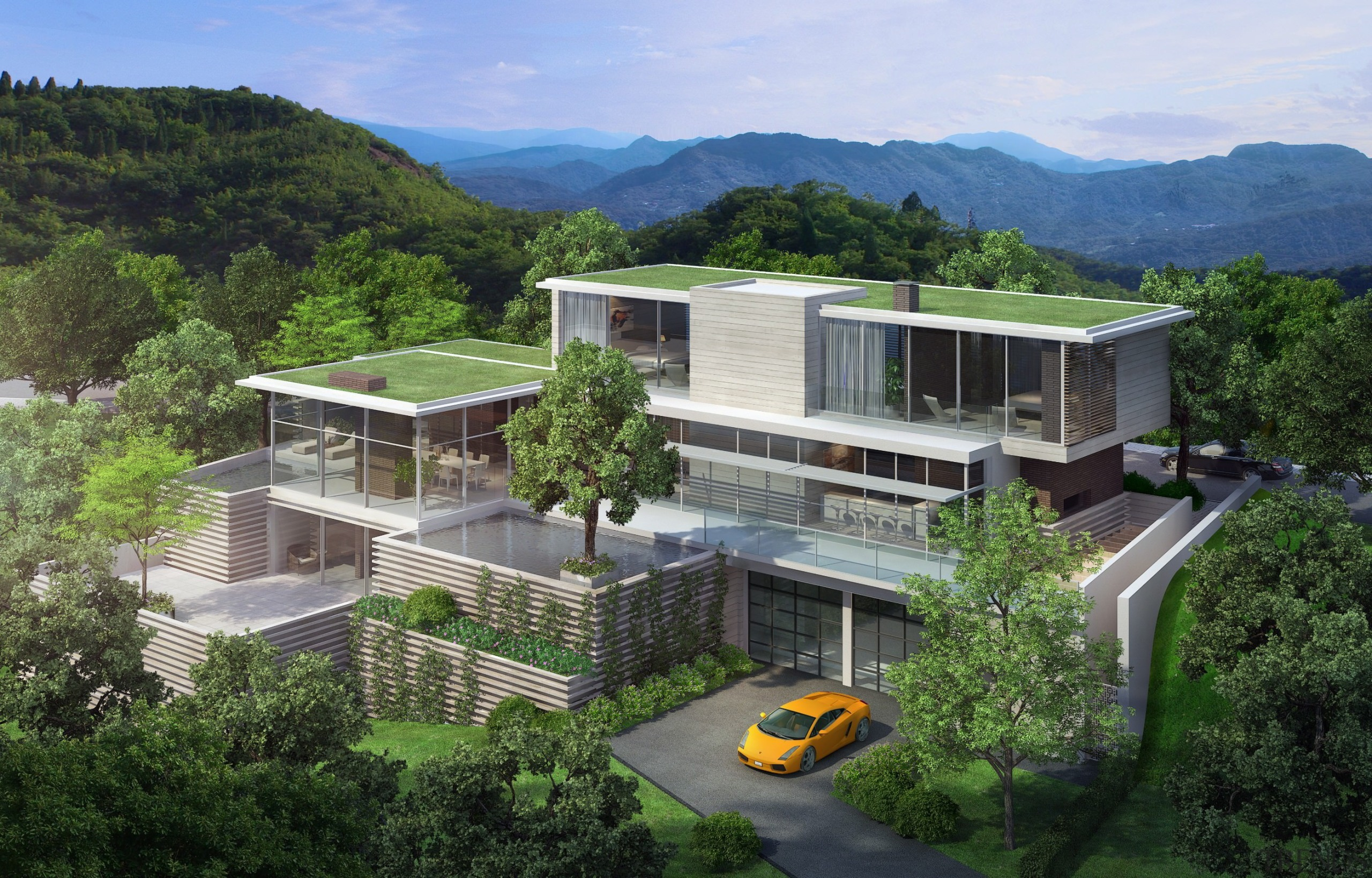 Steven Harris Rendering - Premia - architecture | architecture, bird's eye view, condominium, cottage, elevation, estate, home, house, mixed use, property, real estate, residential area, villa, green