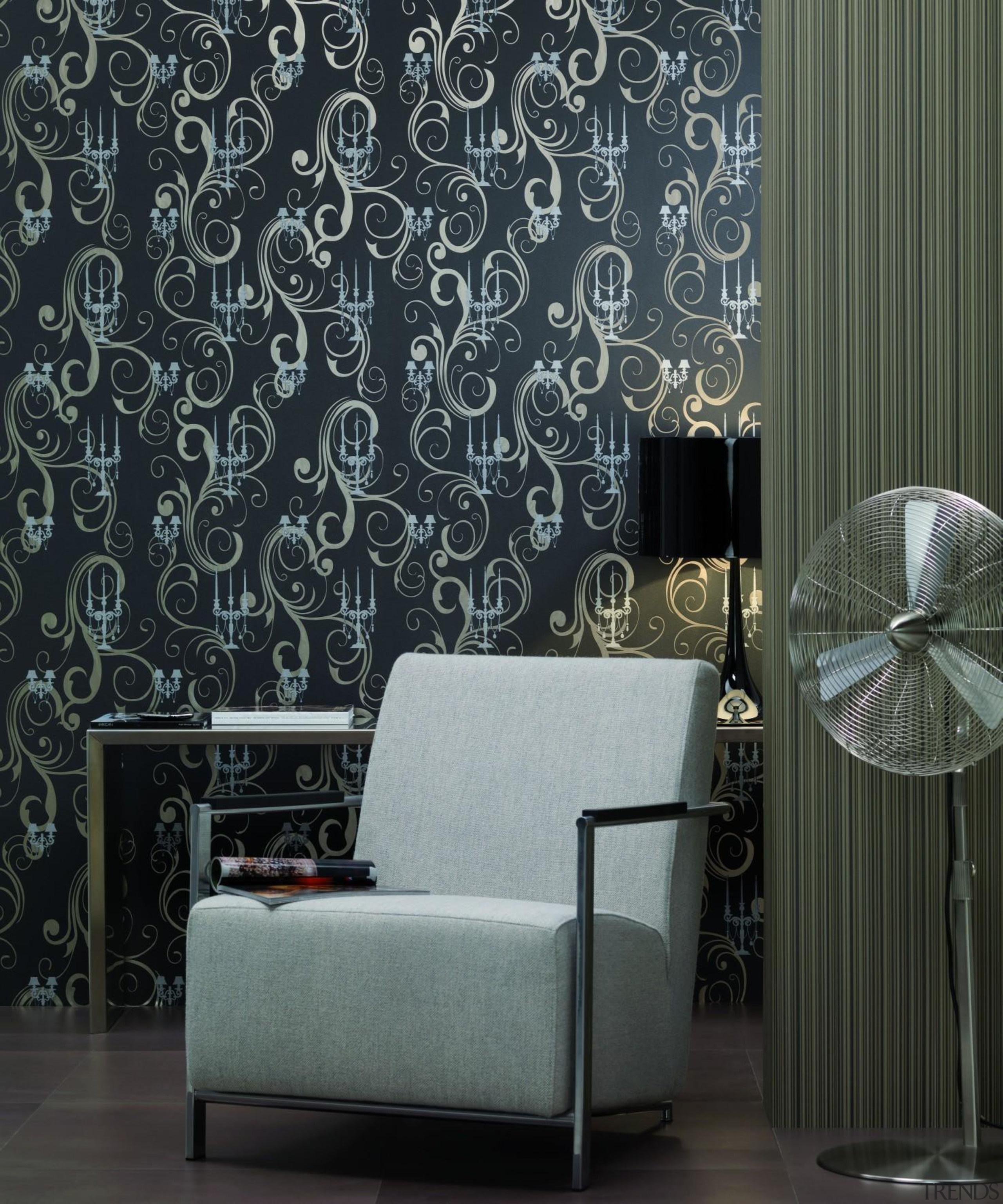 Modern Style Range - couch   curtain   couch, curtain, decor, interior design, living room, wall, wallpaper, window, window covering, window treatment, black, gray