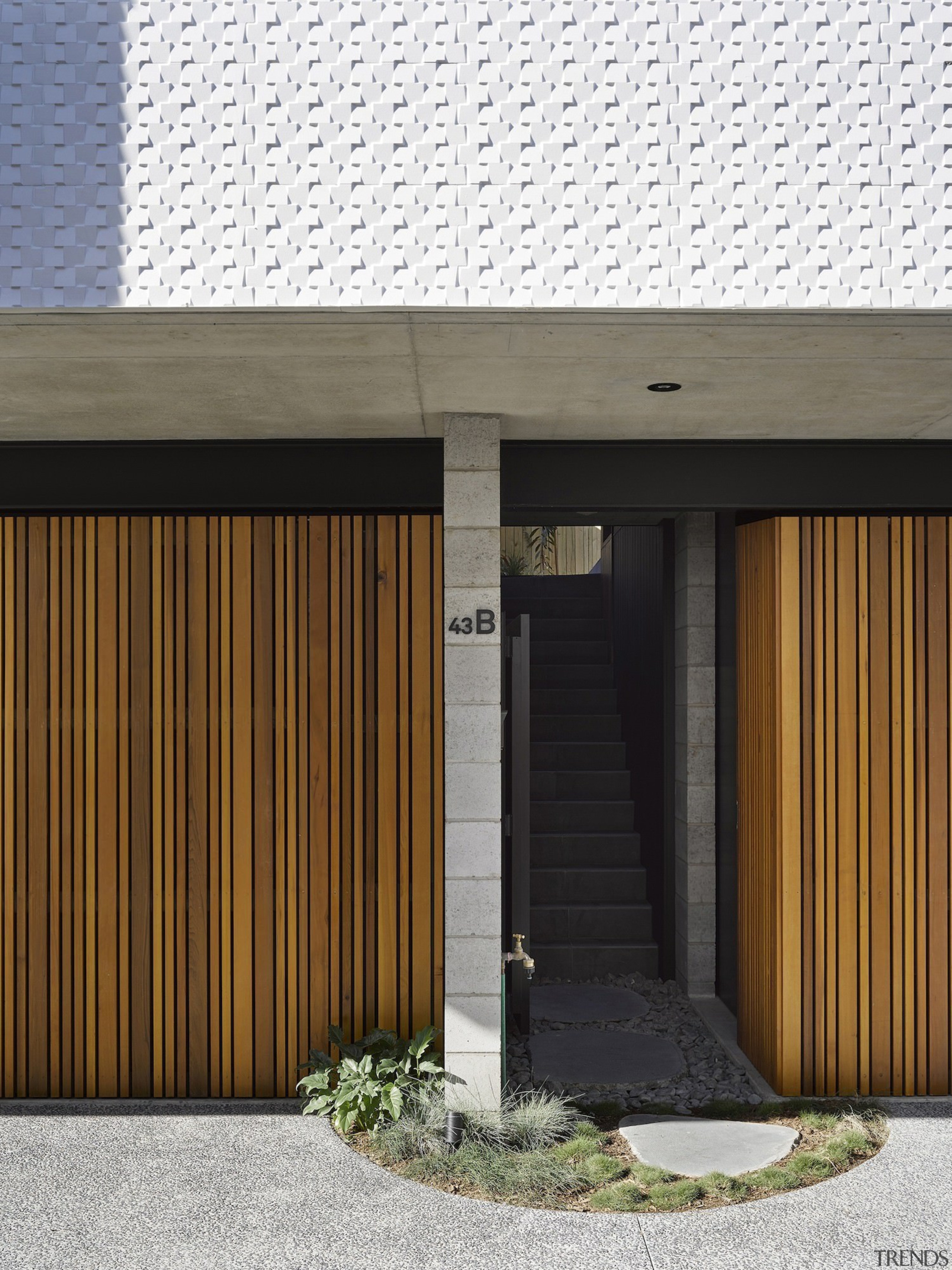 Architect: Refresh DesignPhotography by Roger D'Souza architecture, building, door, facade, garage door, home, house, siding, wood, white