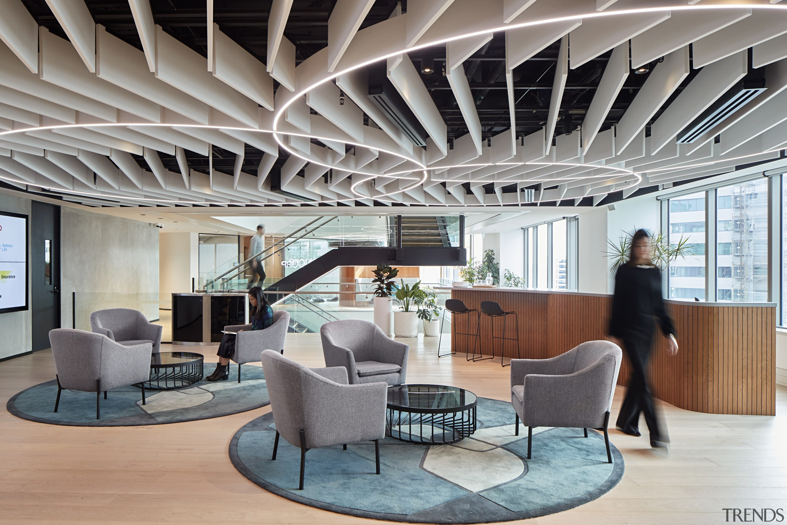 The mid-level of Suncorp's consolidated new five-level premises architecture, ceiling, daylighting, furniture, interior design, lobby, gray