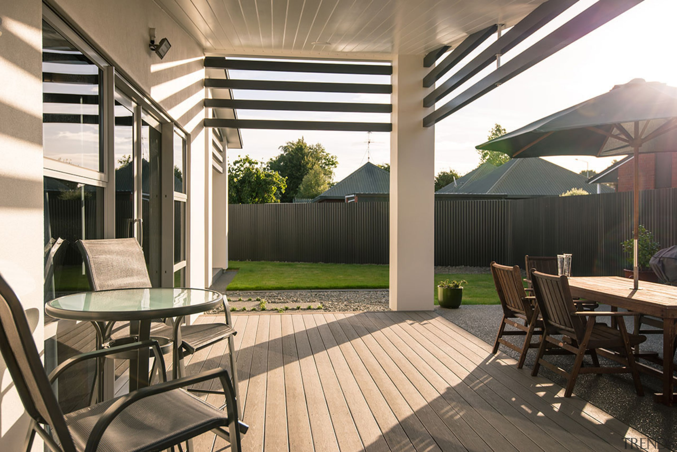 TimberTech decking is imported from the United States house, interior design, outdoor structure, patio, real estate, roof, black