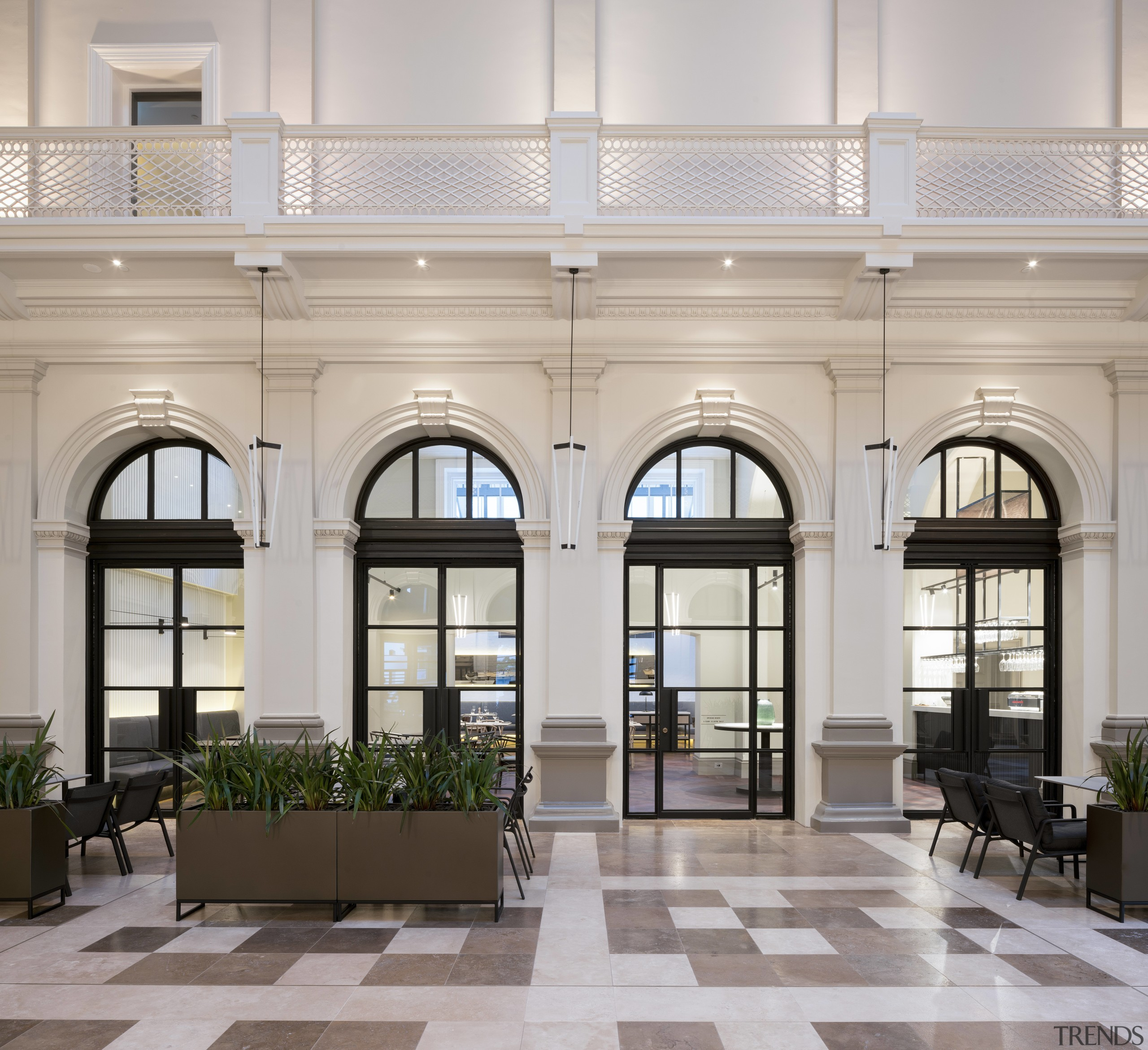 The Postal Hall gives access to the hotels ceiling, interior design, lobby, real estate, gray