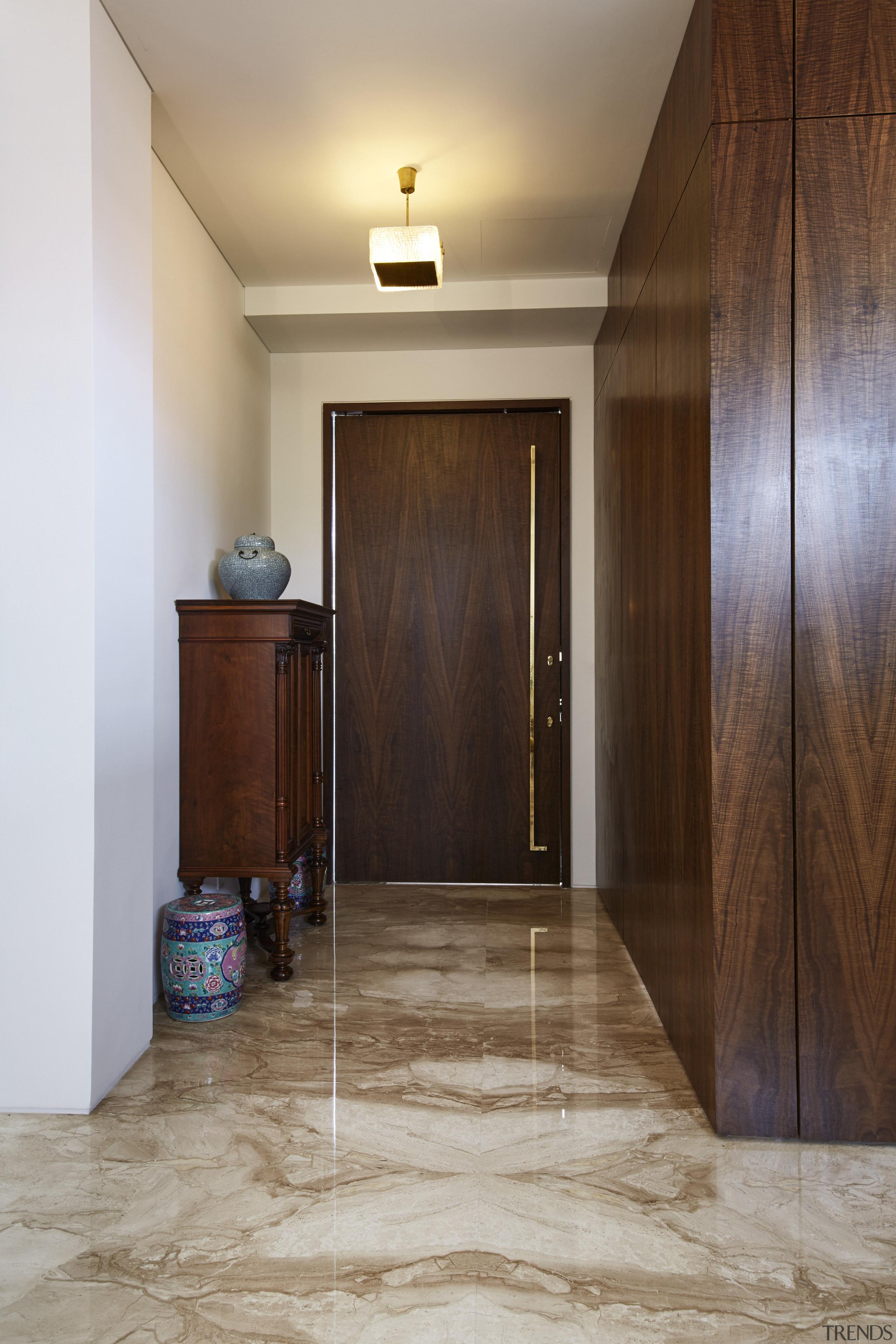 Matched veneer on the front door and Italian door, floor, flooring, hardwood, home, interior design, laminate flooring, real estate, room, tile, wall, wood, wood flooring, wood stain, brown, gray