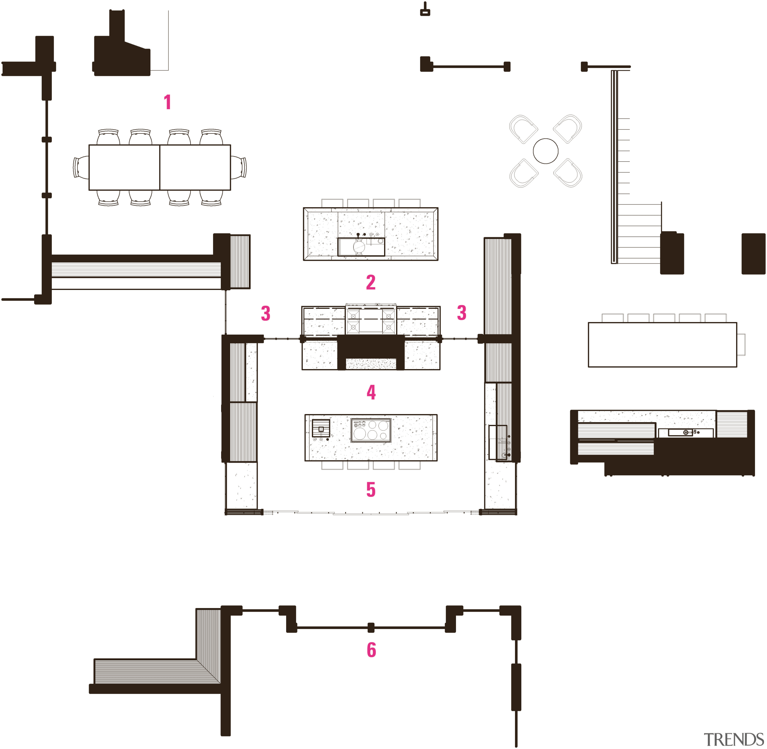 Plan of back-to-back living and entertaining kitchens by angle, area, design, diagram, drawing, floor plan, font, furniture, line, plan, product, product design, text, white