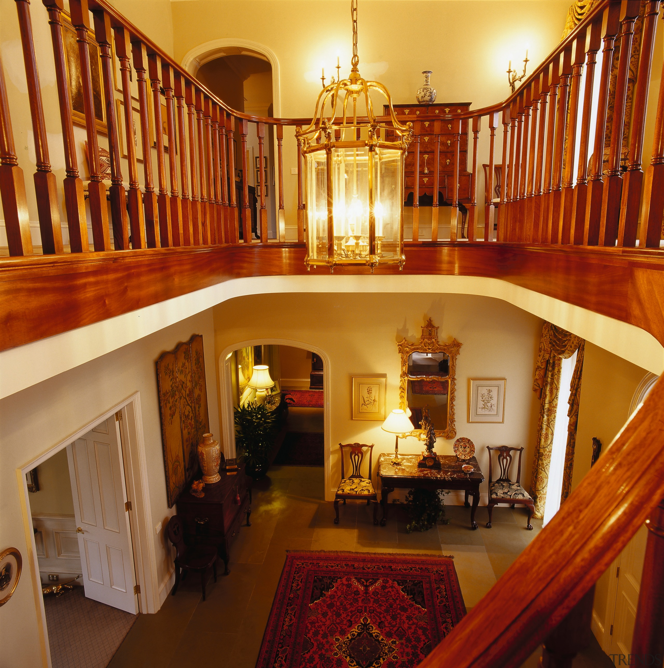 View of the stairway hall, grand wooden balcolny ceiling, estate, flooring, home, interior design, living room, lobby, real estate, room, stairs, wood, brown, orange