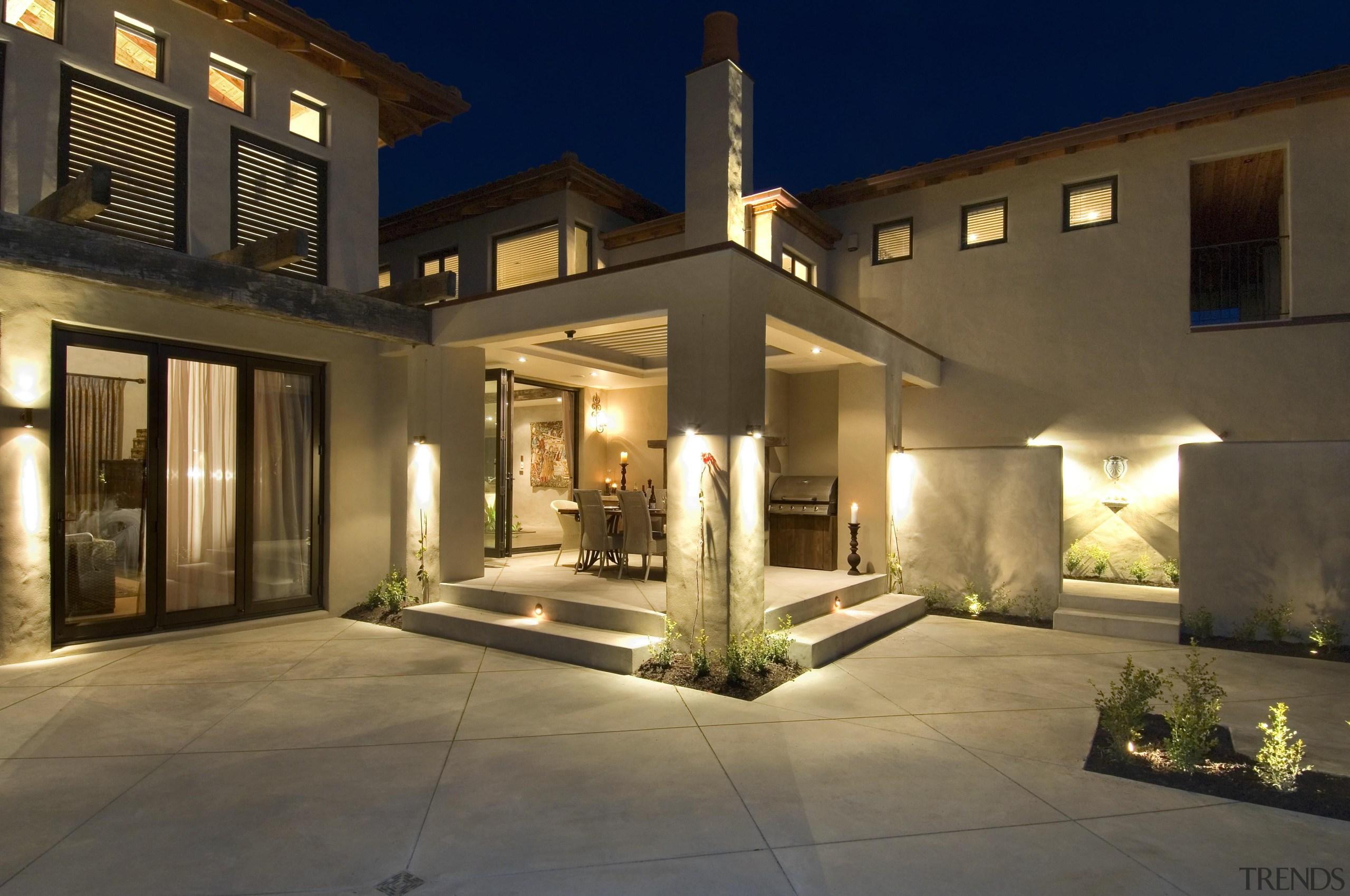 160mangawhai 2 - mangawhai_2 - architecture | building architecture, building, courtyard, estate, facade, home, house, landscape lighting, lighting, property, real estate, villa, brown