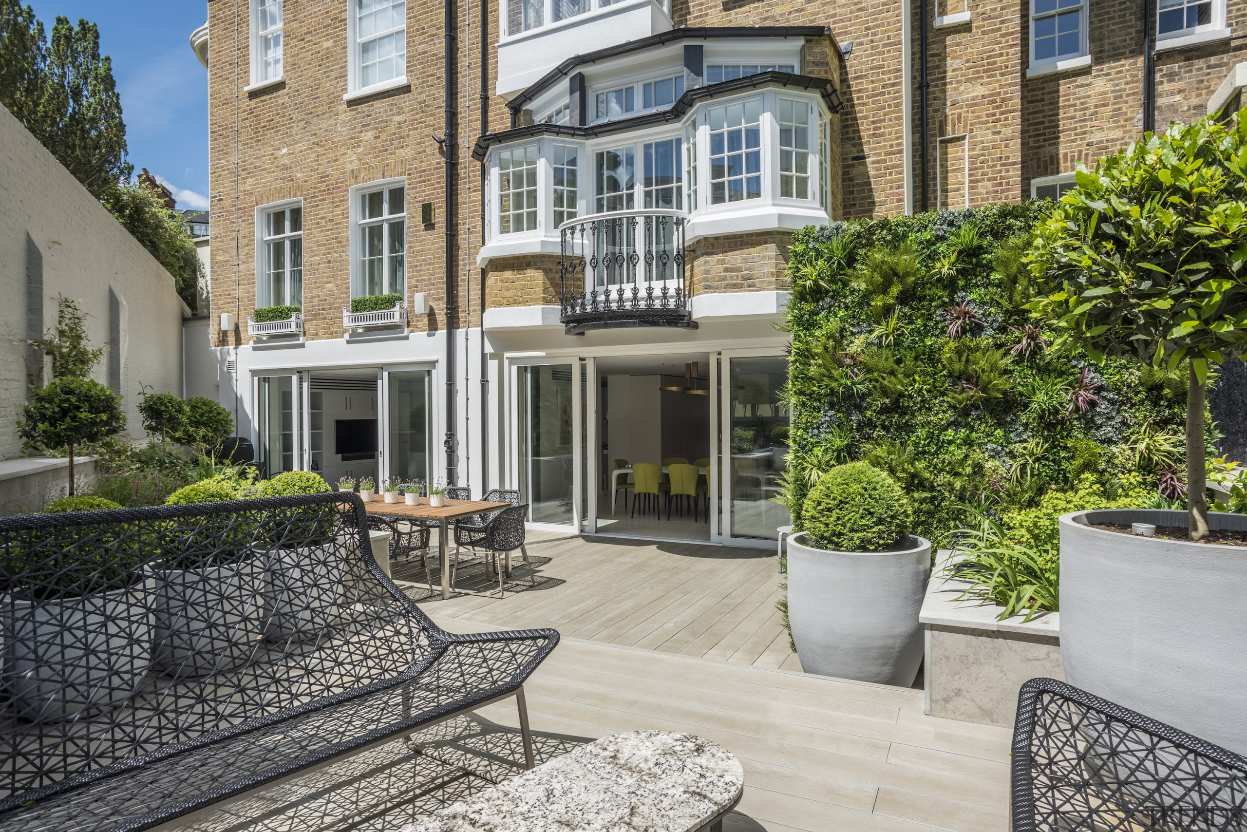The newly enlarged sunken terrace and garden area