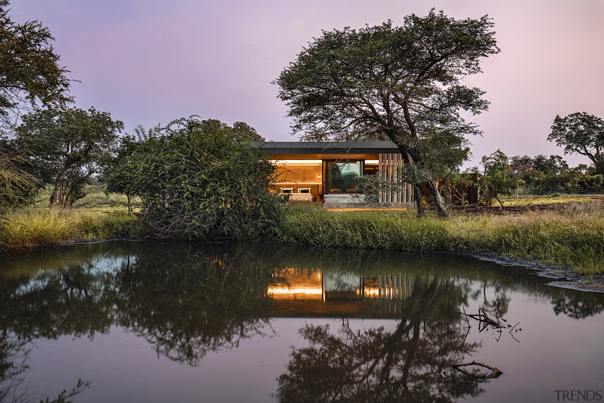 Cheetah Plains – by ARRCC – connects with architecture, bank, bayou, calm, evening, floodplain, home, house, lake, landscape, marsh, morning, natural environment, natural landscape, nature, nature reserve, plant, pond, reflection, river, rural area, sky, tree, water, watercourse, waterway, wetland, wildlife, black, gray