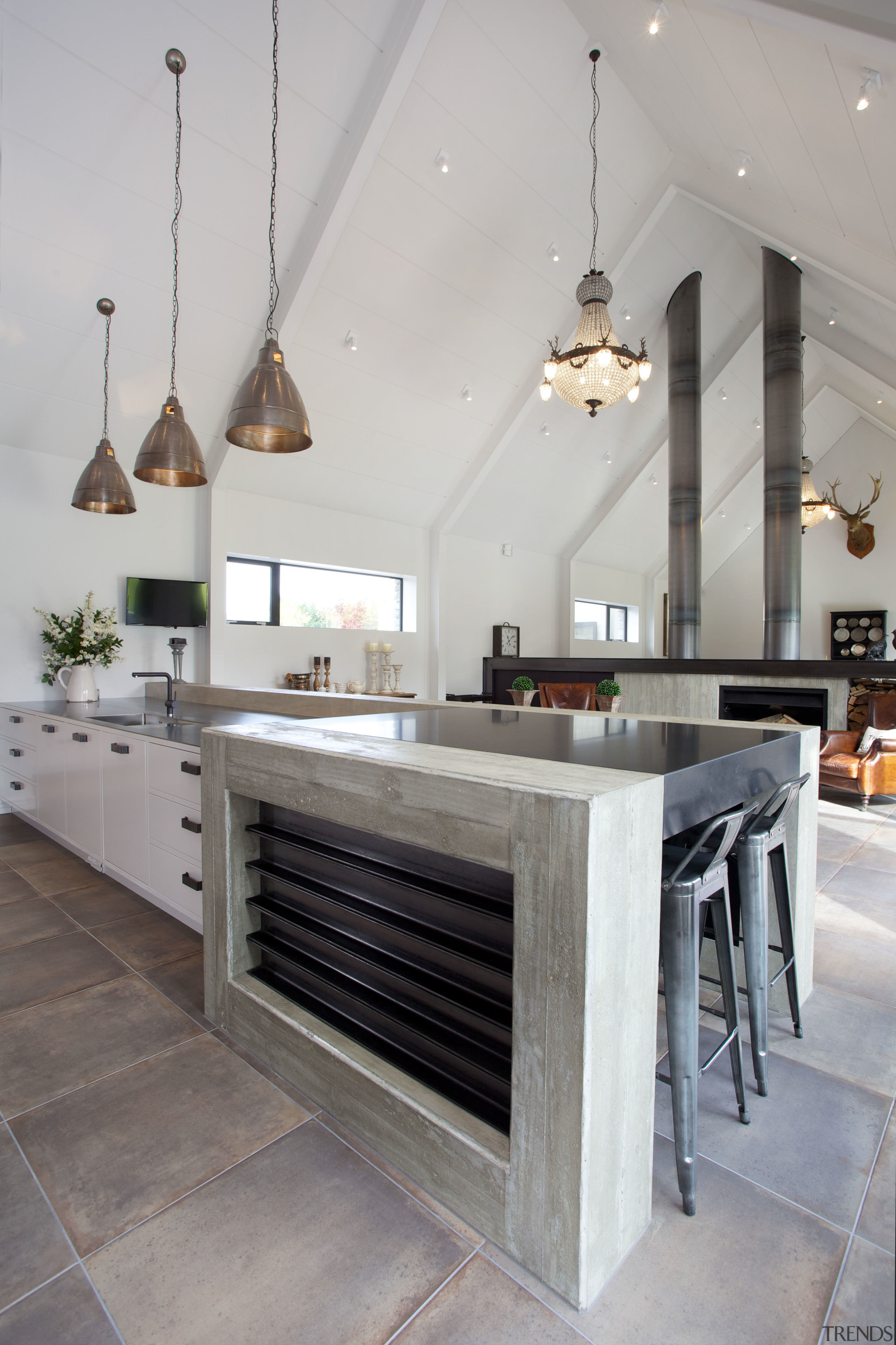 This kitchen is positioned in the heart of countertop, flooring, interior design, kitchen, table, gray