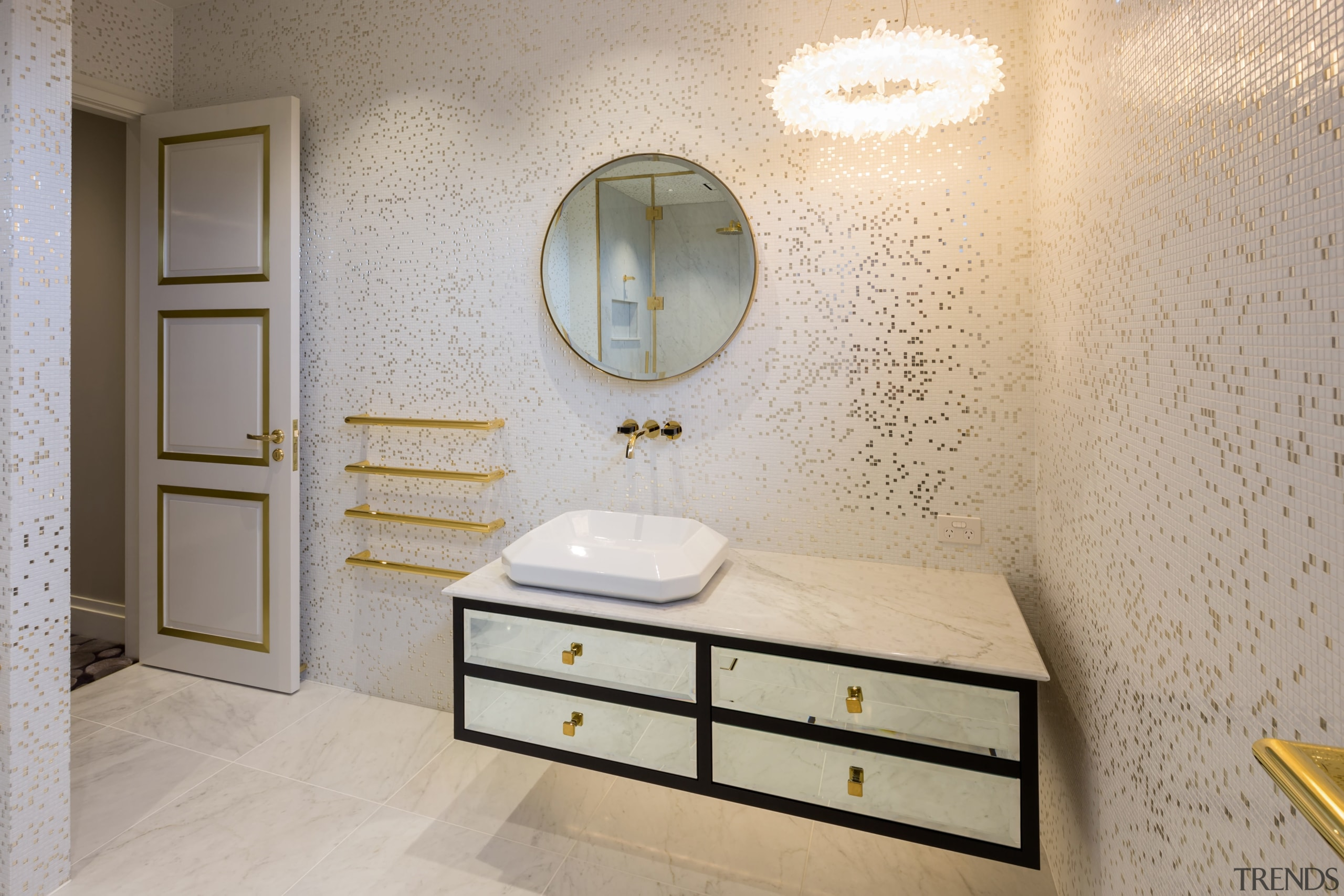 All that glisters white gold mosaic tiles, gold bathroom, floor, flooring, home, interior design, product design, room, sink, tile, wall, gray