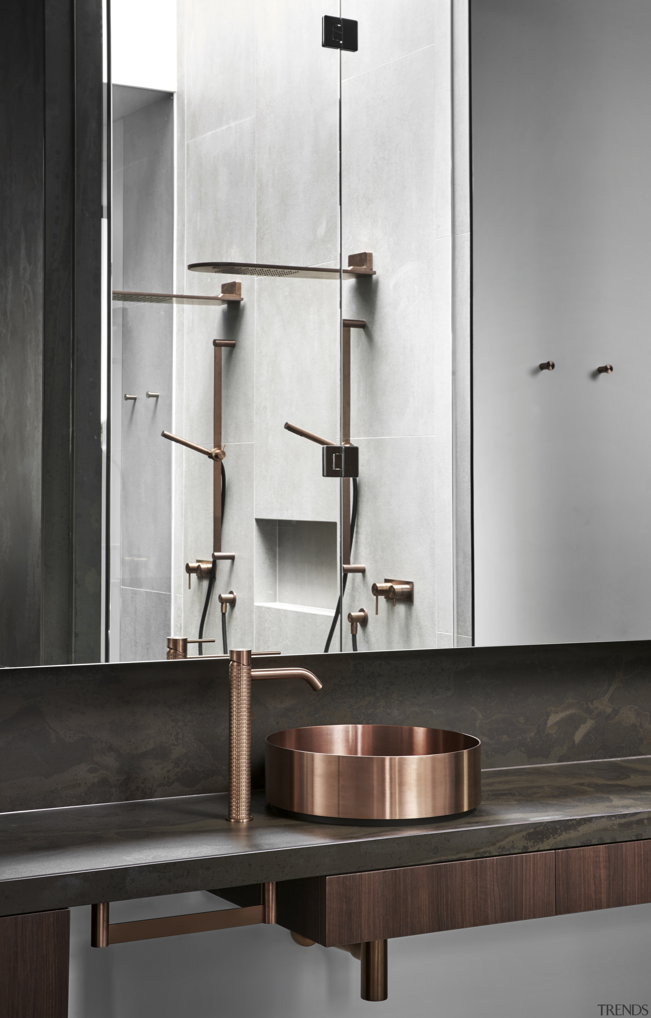 Copper finishes on stainless steel tapware and basins