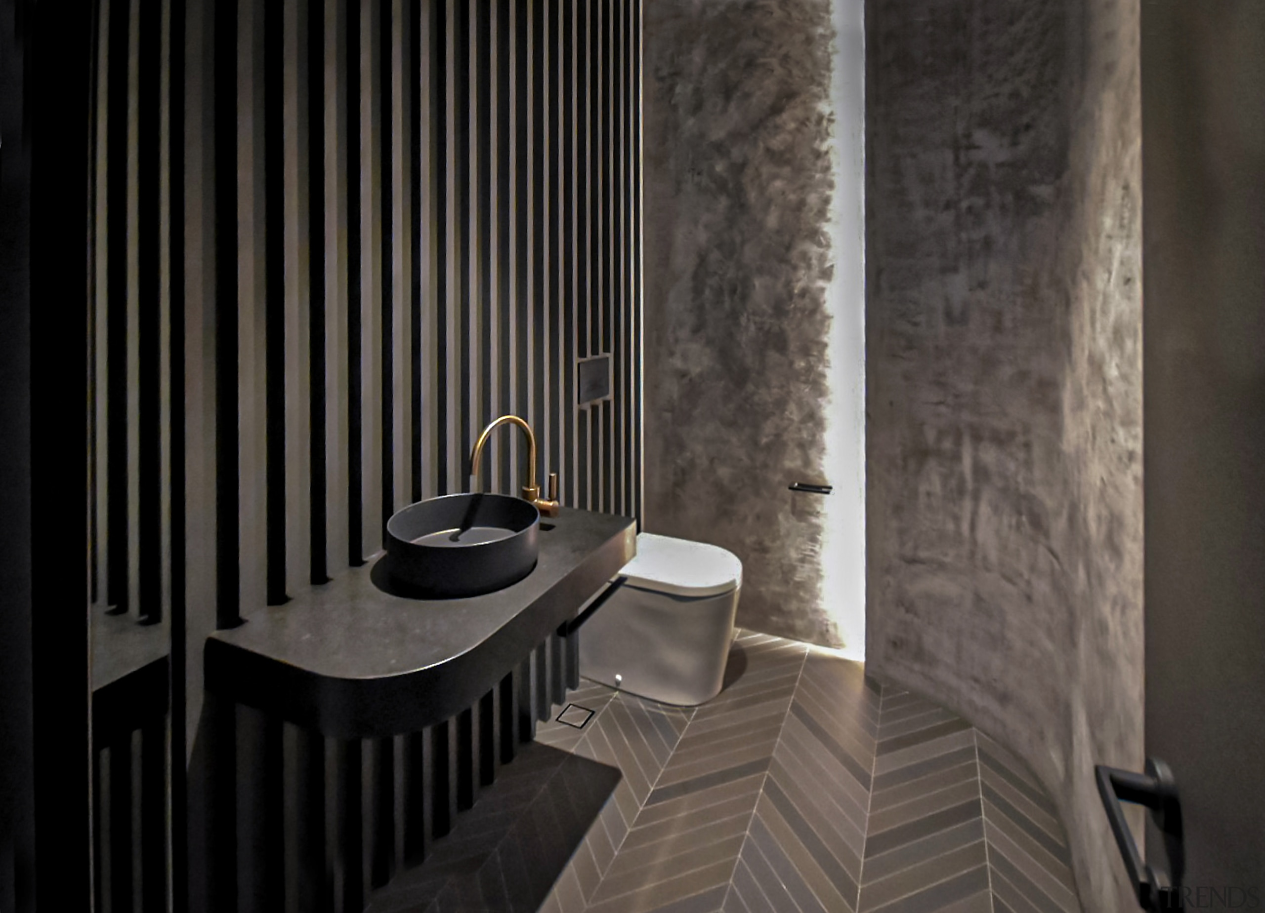 Carefully placed lighting in this powder room makes